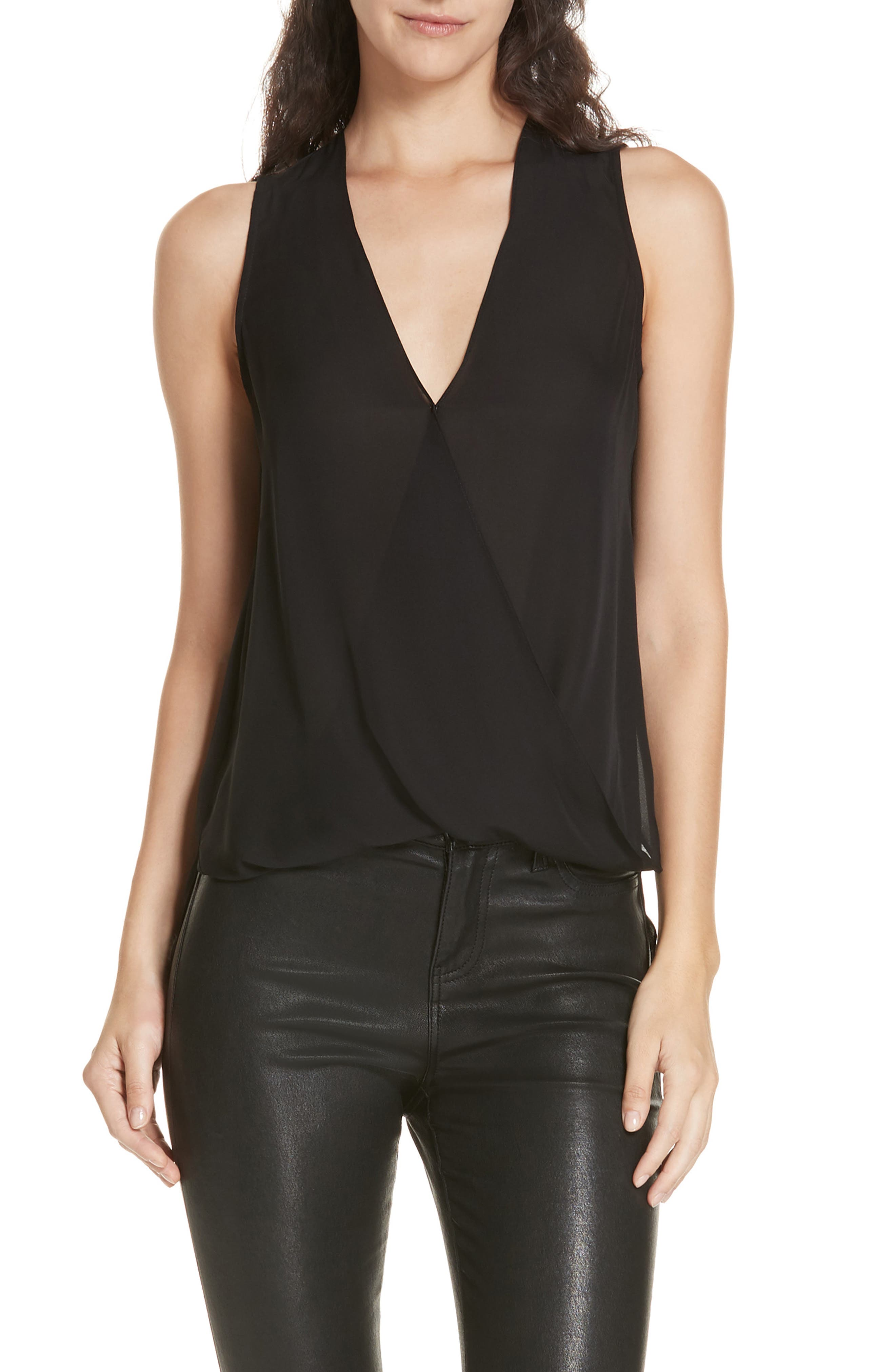Mila Draped Silk Surplice Blouse, Main, color, BLACK