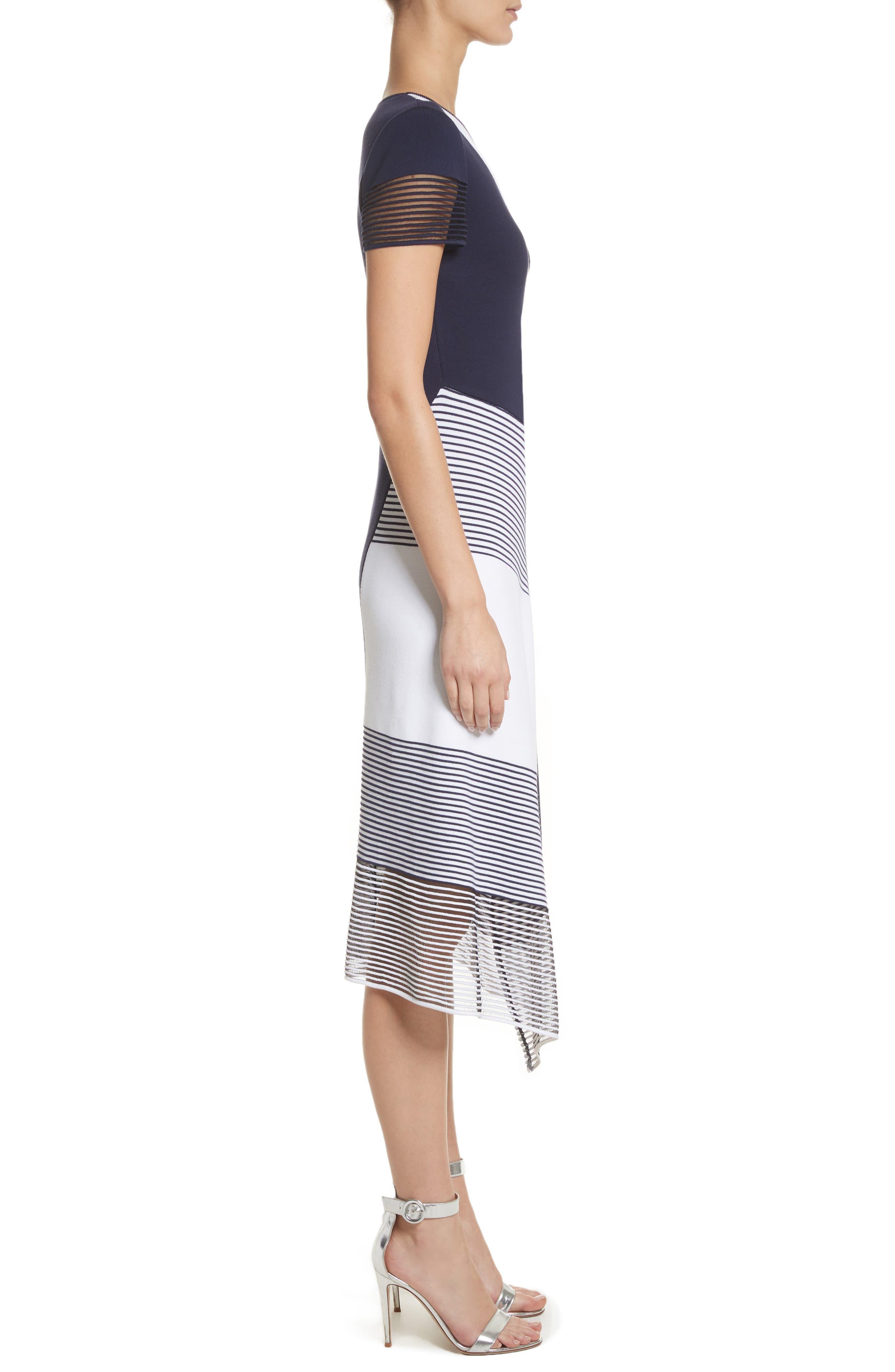 Colorblock Tech Knit Dress,                             Alternate thumbnail 3, color,                             100