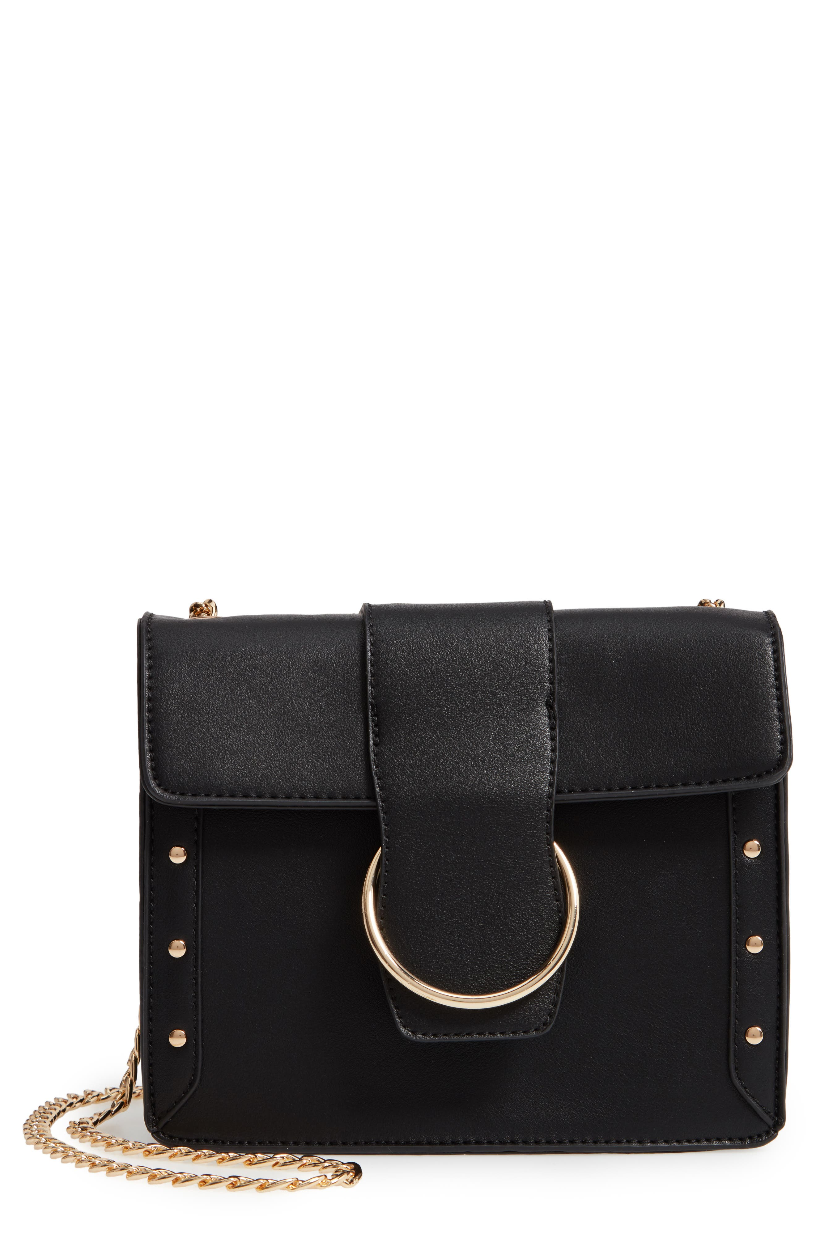 Metal Ring Faux Leather Crossbody Bag,                         Main,                         color, 001