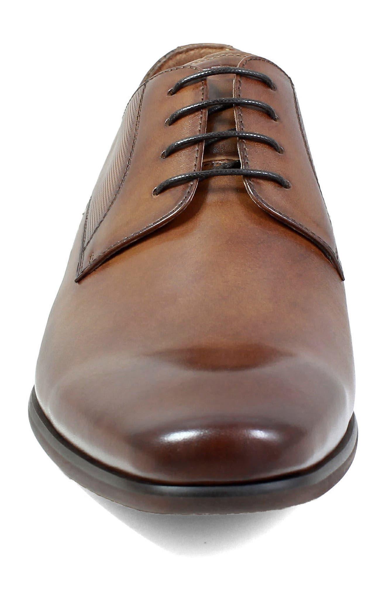 FLORSHEIM,                             Postino Textured Plain Toe Derby,                             Alternate thumbnail 4, color,                             COGNAC LEATHER