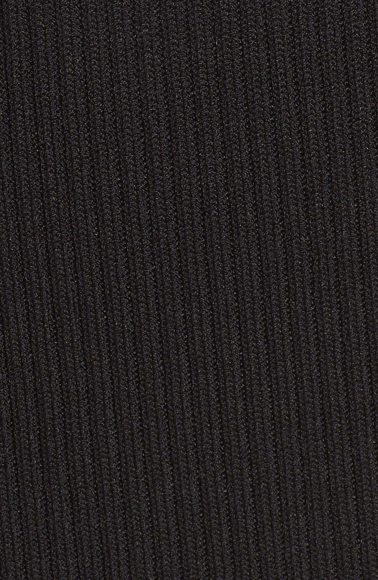 V-Neck Rib Knit Sweater Dress,                             Alternate thumbnail 6, color,                             BLACK