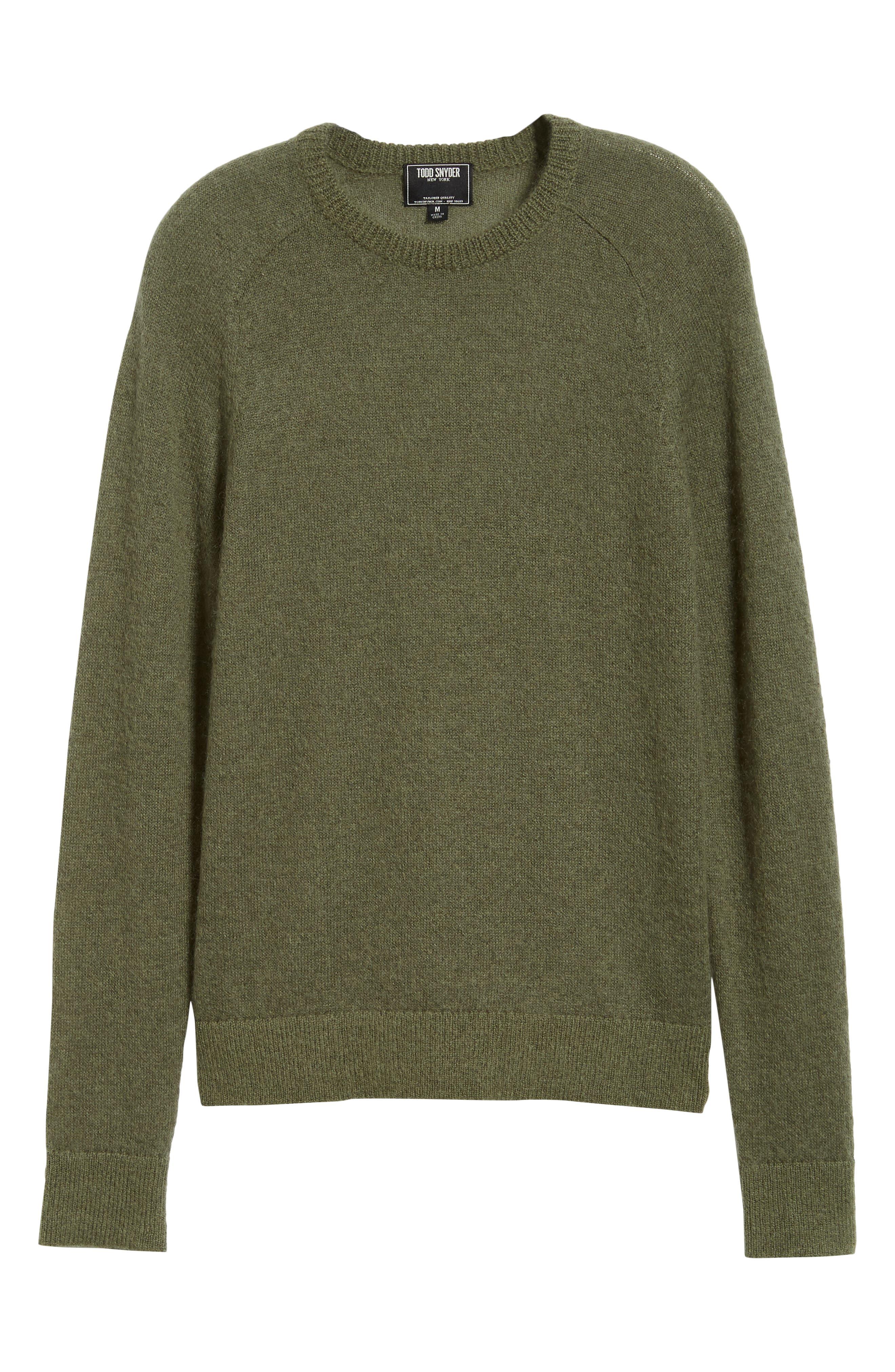 Mohair Blend Crewneck Sweater,                             Alternate thumbnail 6, color,                             340
