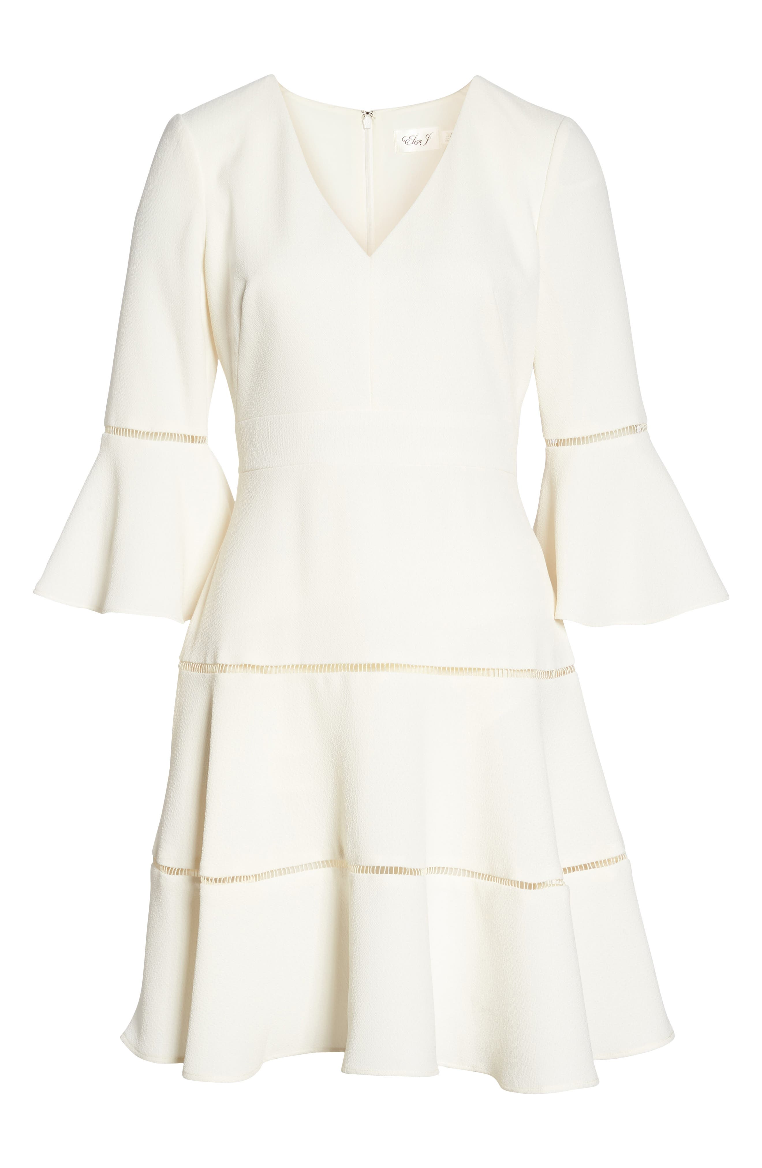 Bell Sleeve Lace Inset Fit & Flare Dress,                             Alternate thumbnail 7, color,                             IVORY