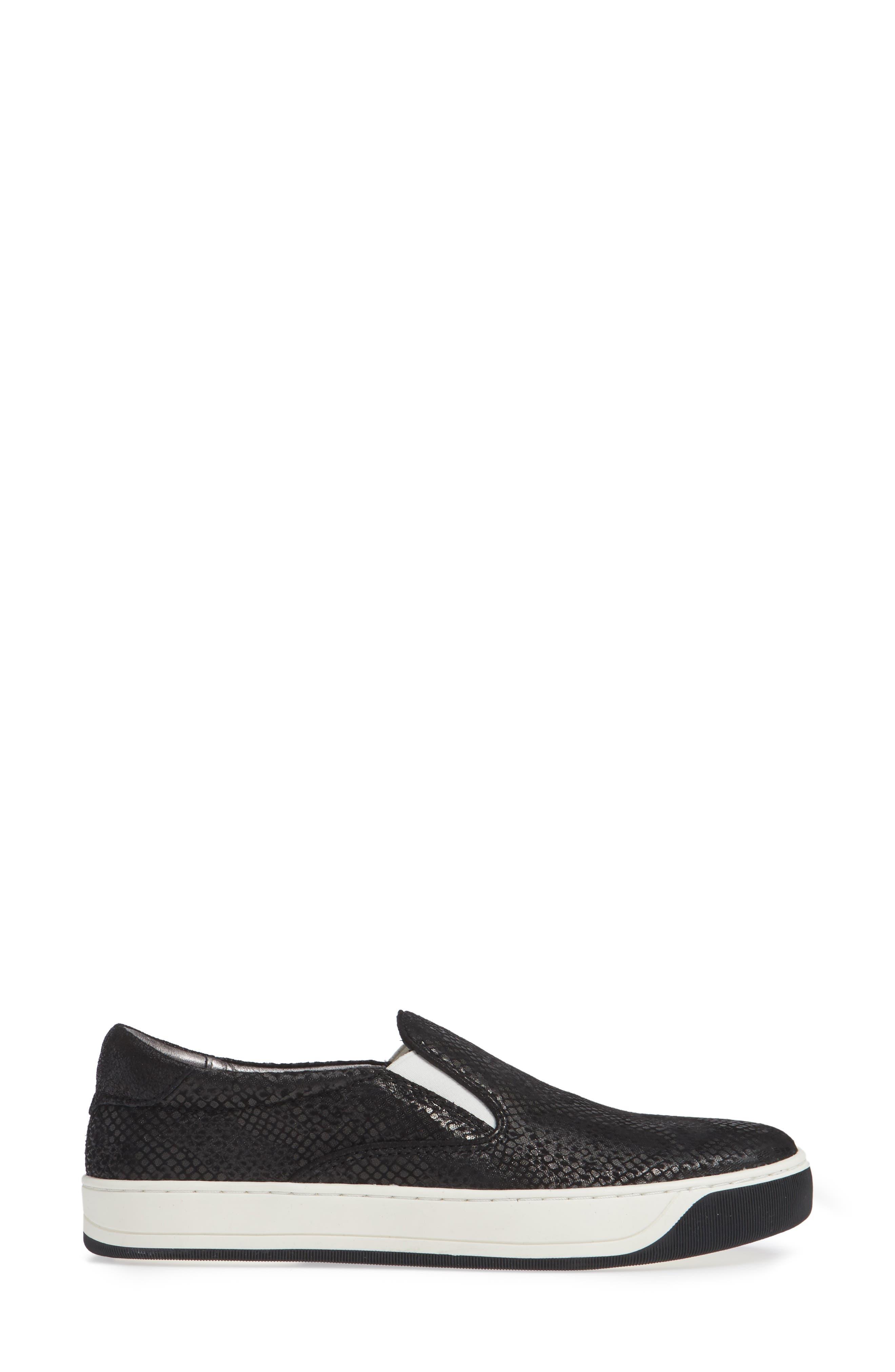 Elaine Slip-On Sneaker,                             Alternate thumbnail 3, color,                             BLACK SNAKE PRINT SUEDE