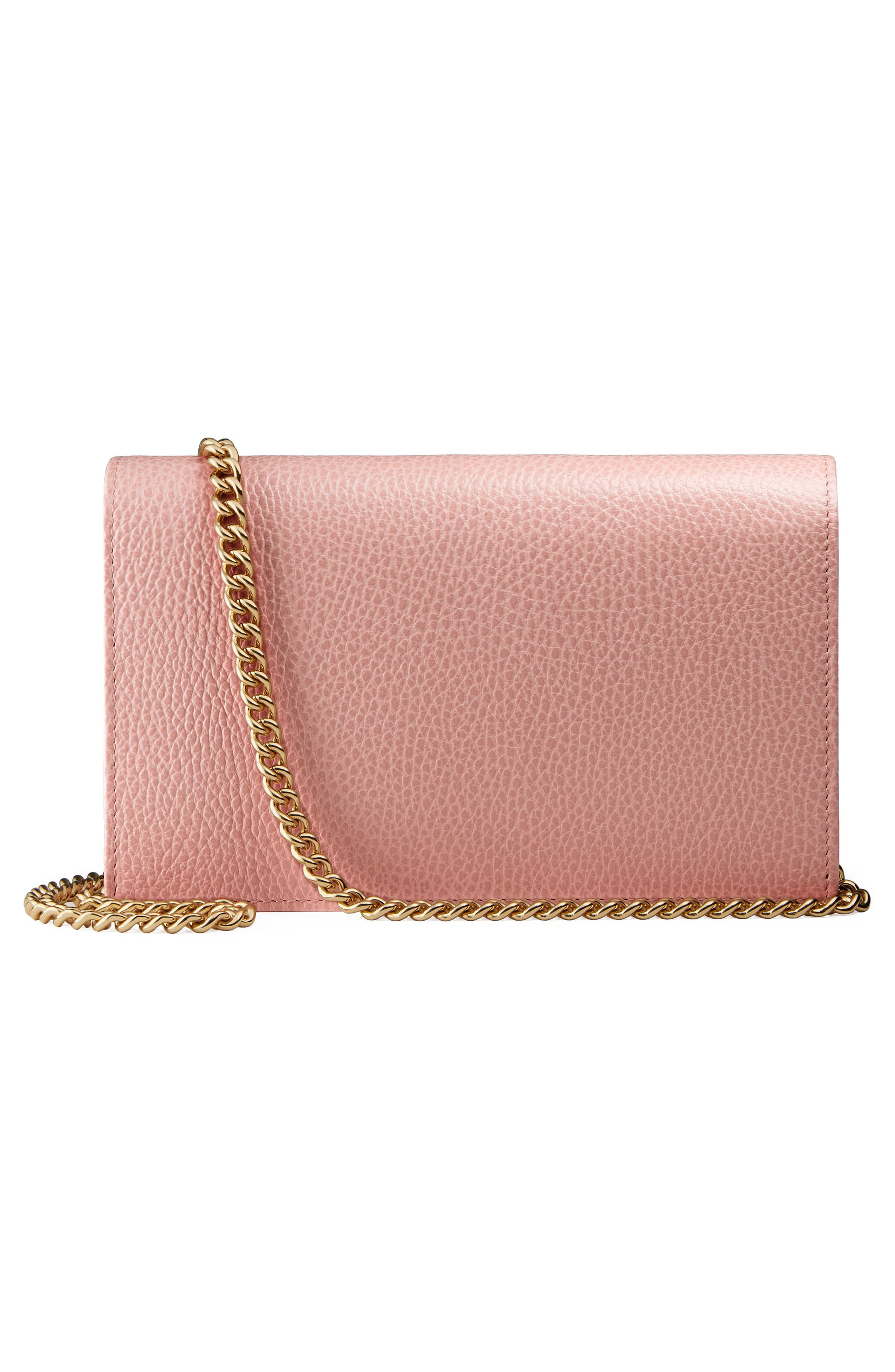 Petite Marmont Leather Wallet on a Chain,                             Alternate thumbnail 18, color,