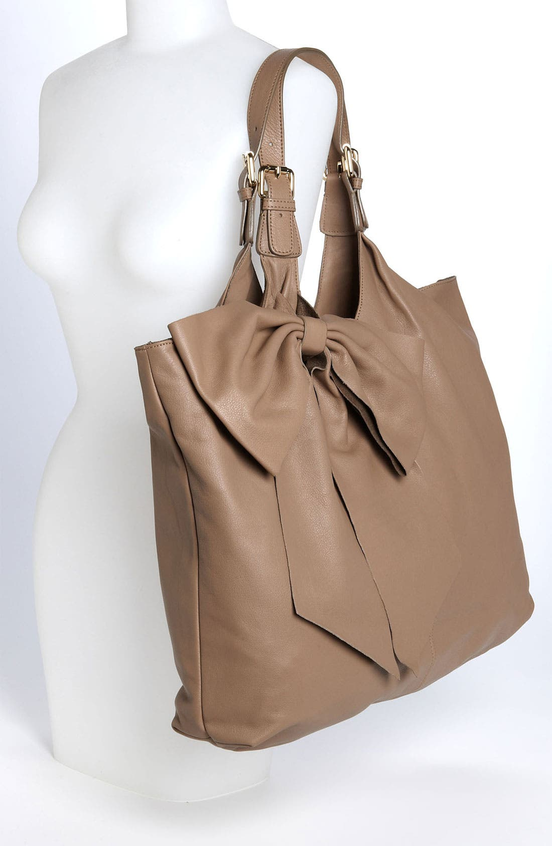 'Bow' Leather Hobo,                             Alternate thumbnail 8, color,