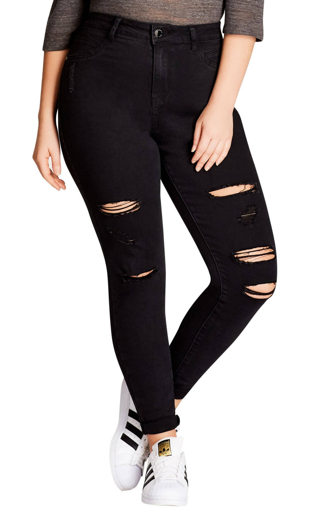 CITY CHIC,                             Rock 'n' Roll Destroyed Skinny Jeans,                             Main thumbnail 1, color,                             BLACK