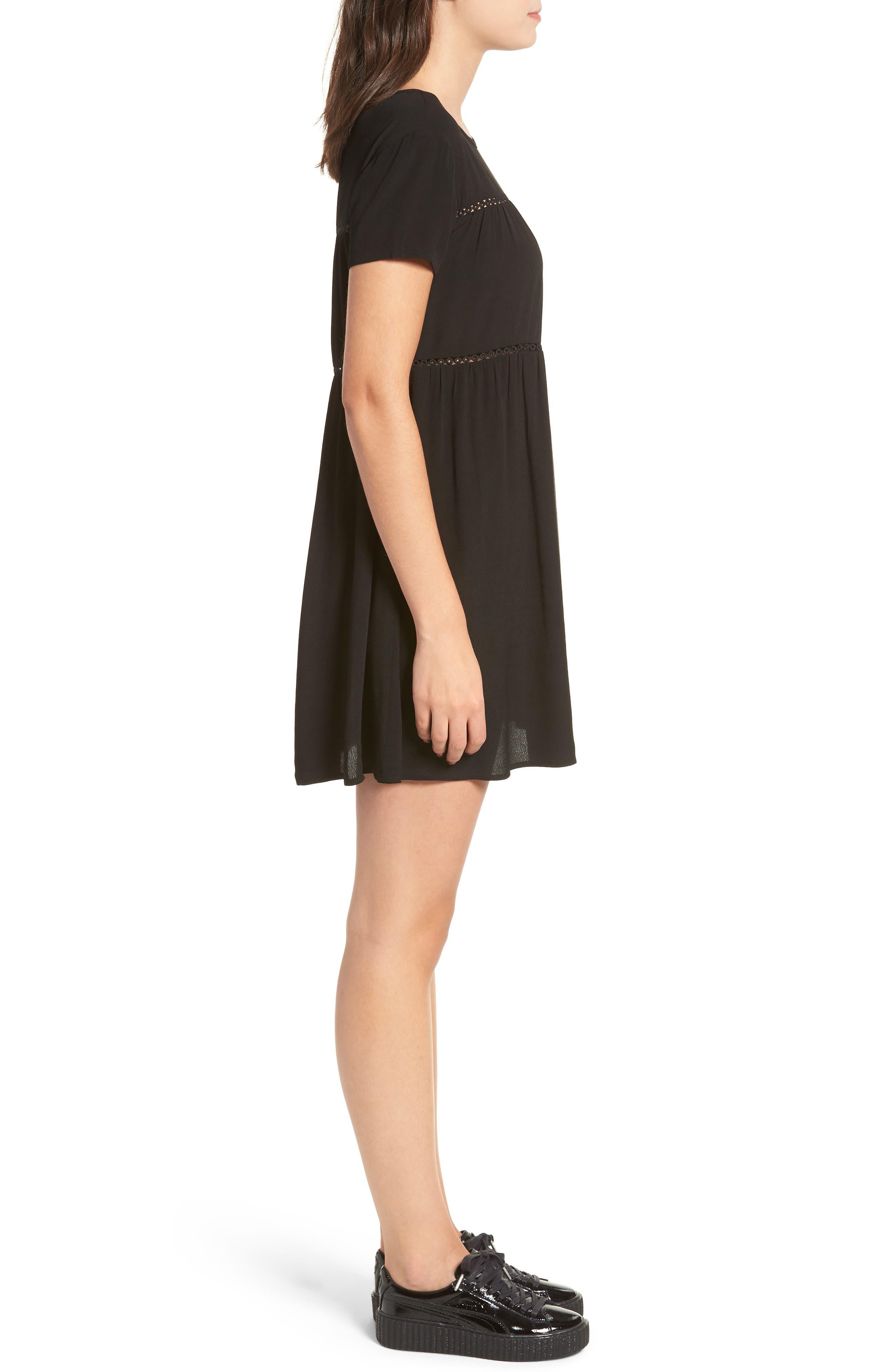 LIRA CLOTHING,                             Amelia Silk Blend Babydoll Dress,                             Alternate thumbnail 4, color,                             BLACK