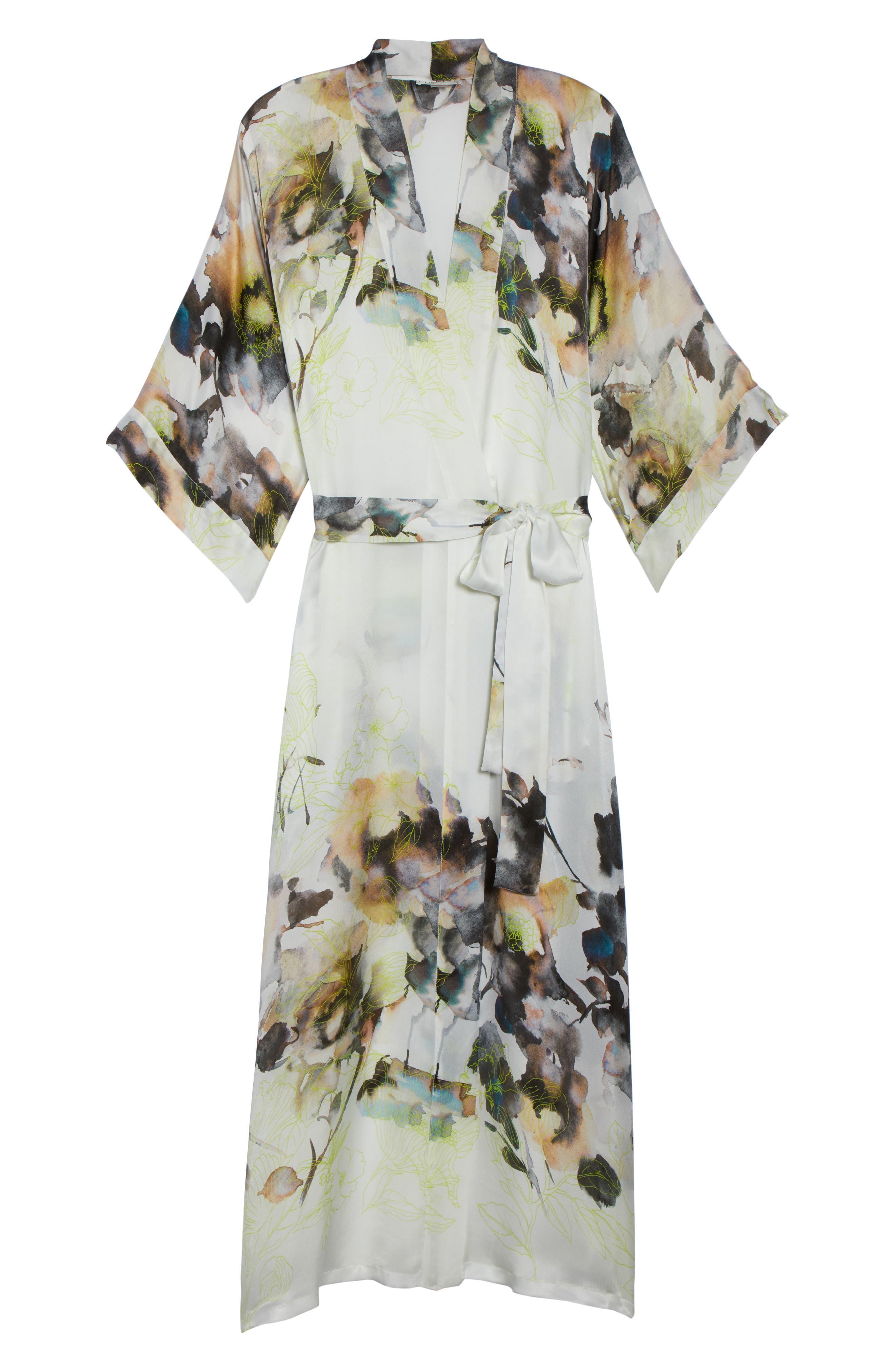 Floral Print Silk Robe,                             Alternate thumbnail 6, color,                             LIMELIGHT PRINT
