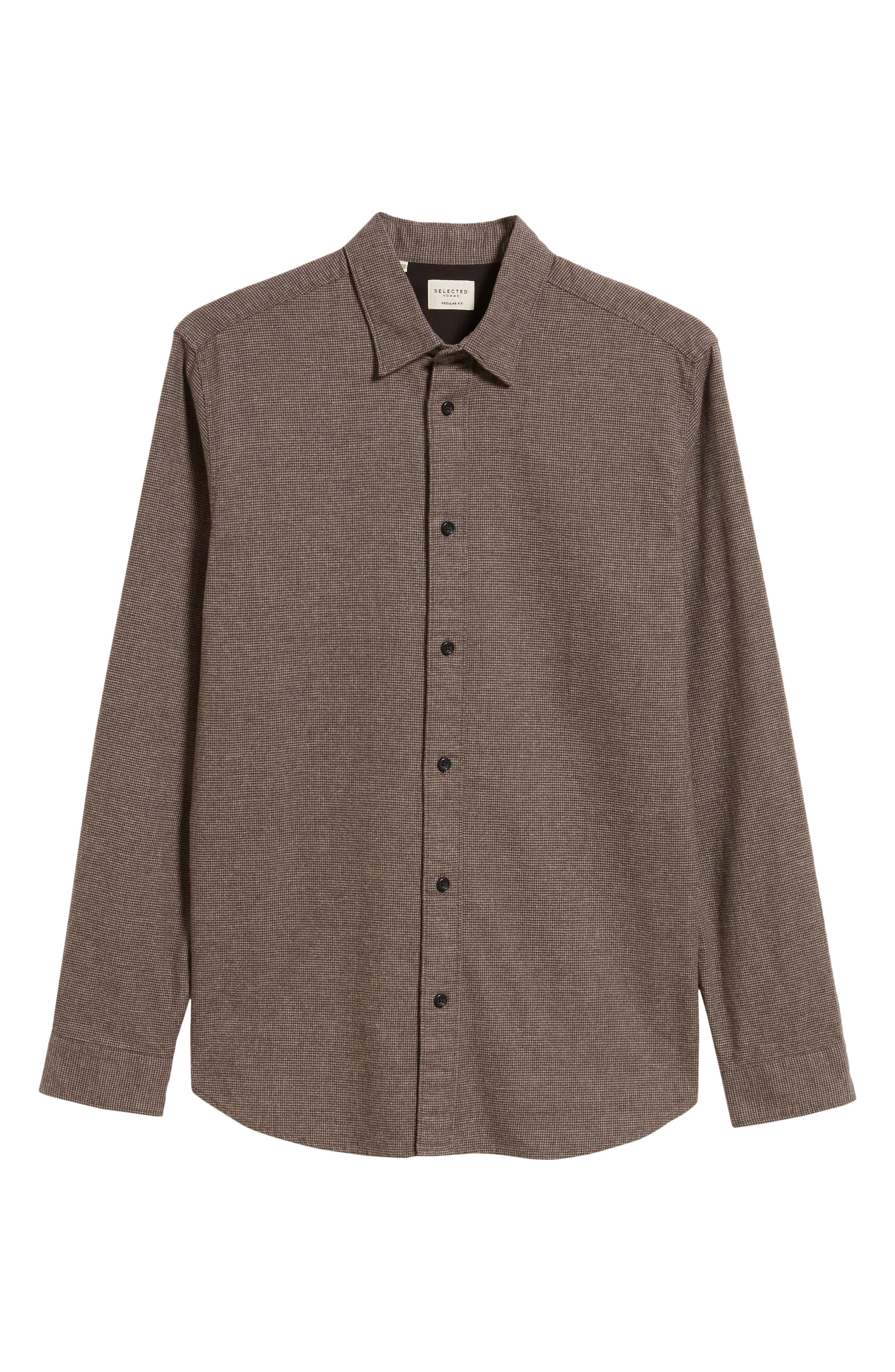 Lucas Houndstooth Check Sport Shirt,                             Alternate thumbnail 5, color,                             HOUNDSTOOTH