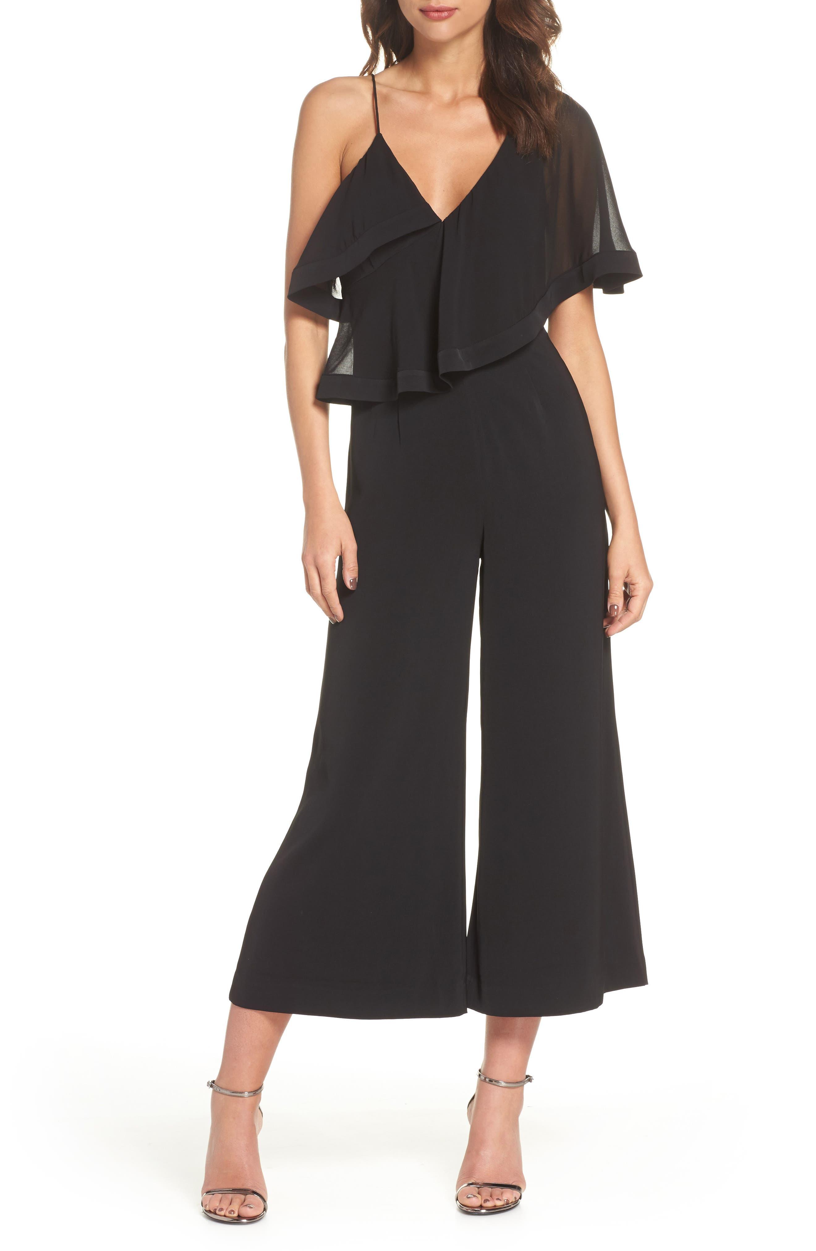 No Love One-Shoulder Crop Jumpsuit,                         Main,                         color, BLACK
