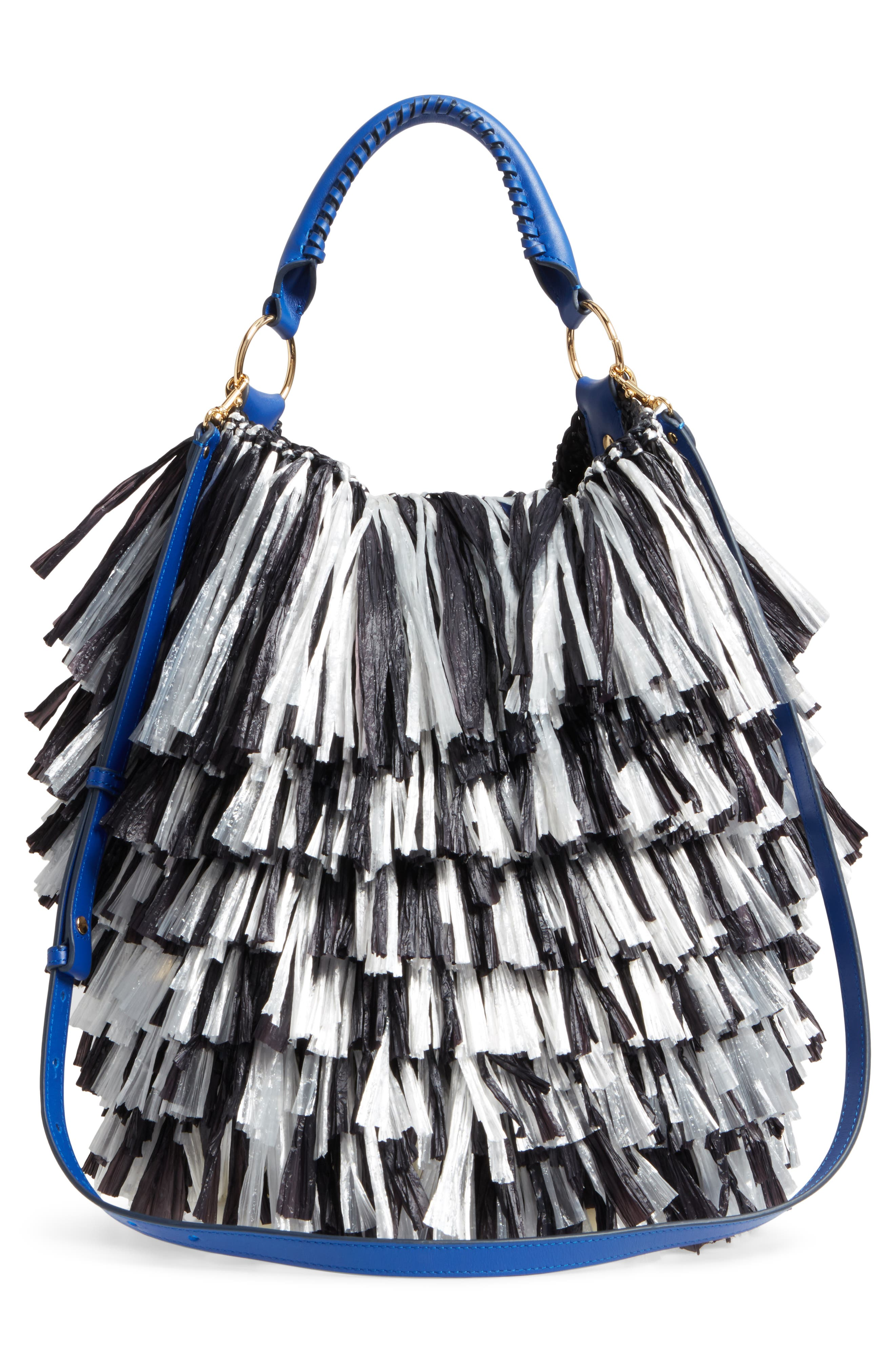 Raffia Fringe Bucket Bag,                             Alternate thumbnail 3, color,                             001