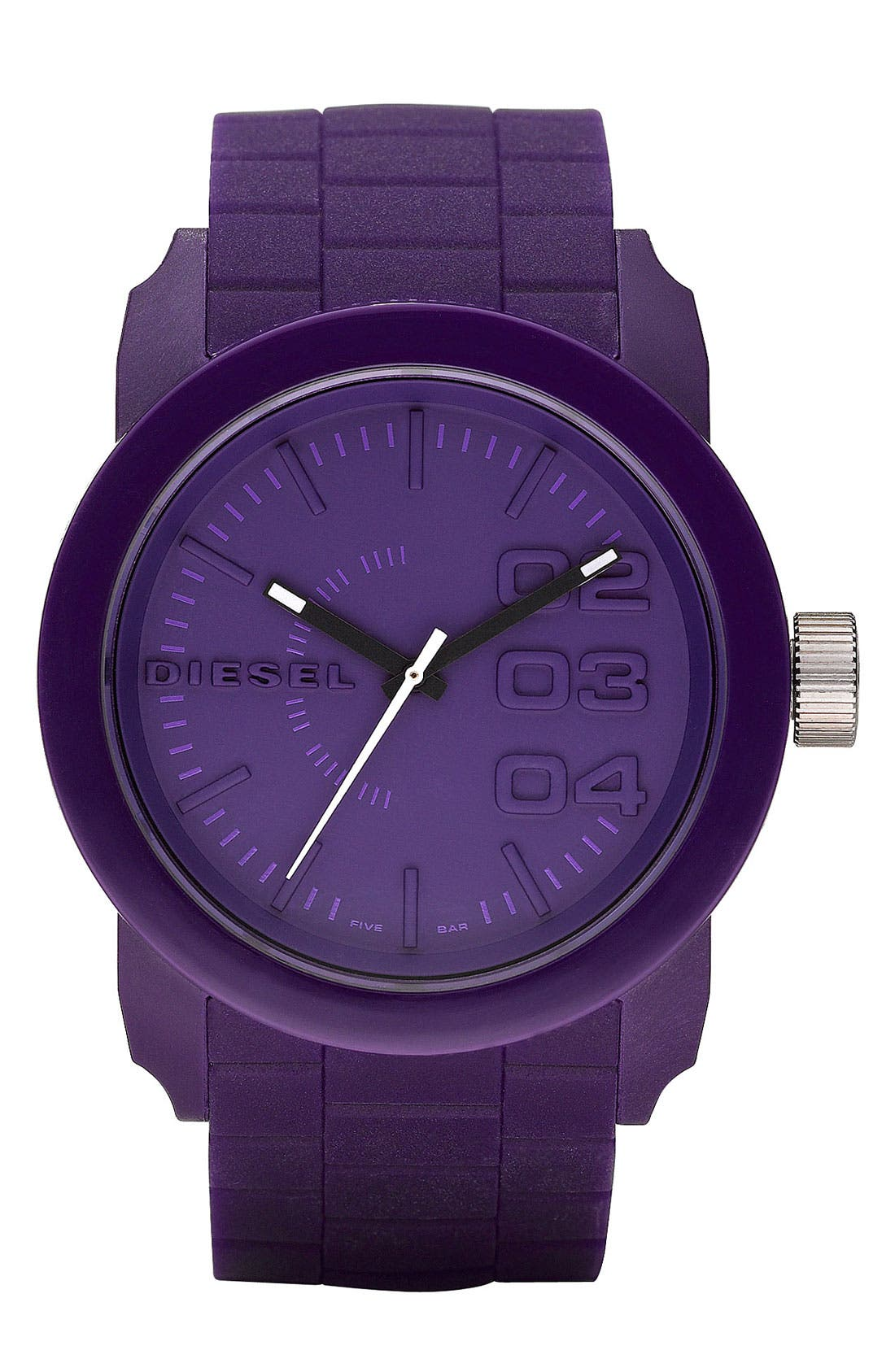 'Double Down' Round Silicone Strap Watch, 44mm,                             Main thumbnail 5, color,