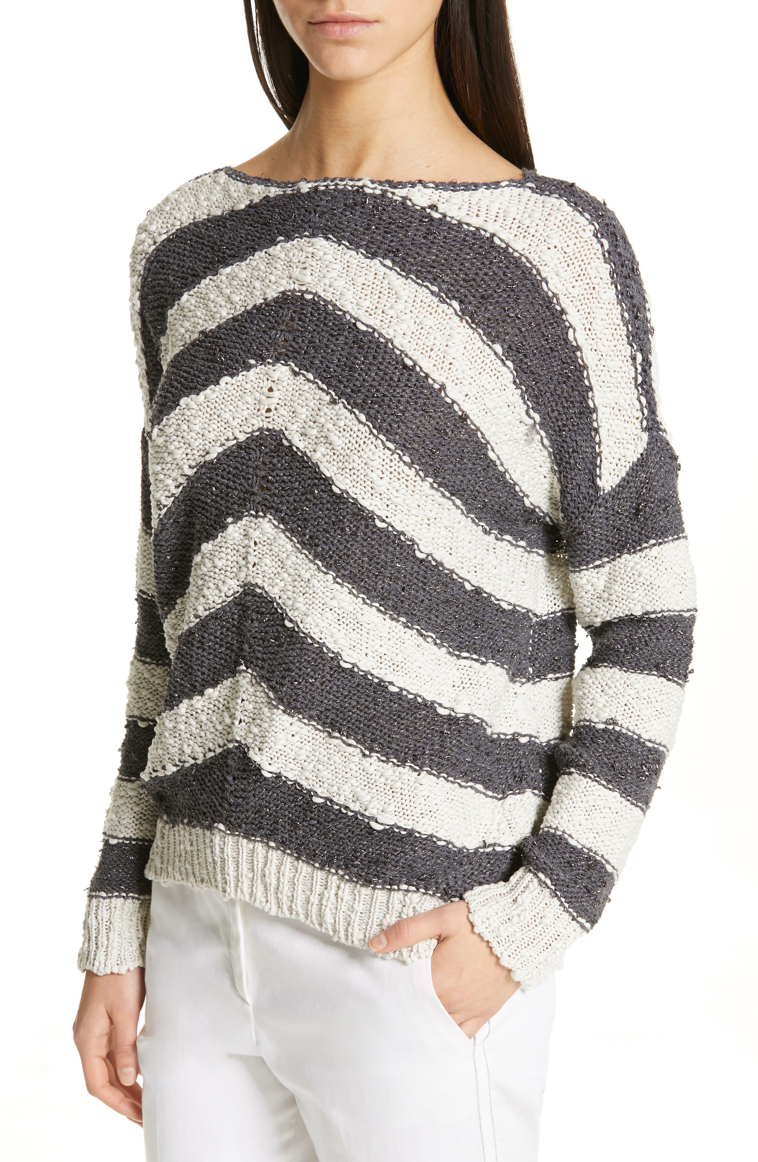 Stripe Knit Sweater,                             Alternate thumbnail 4, color,                             SLATE/ WHITE
