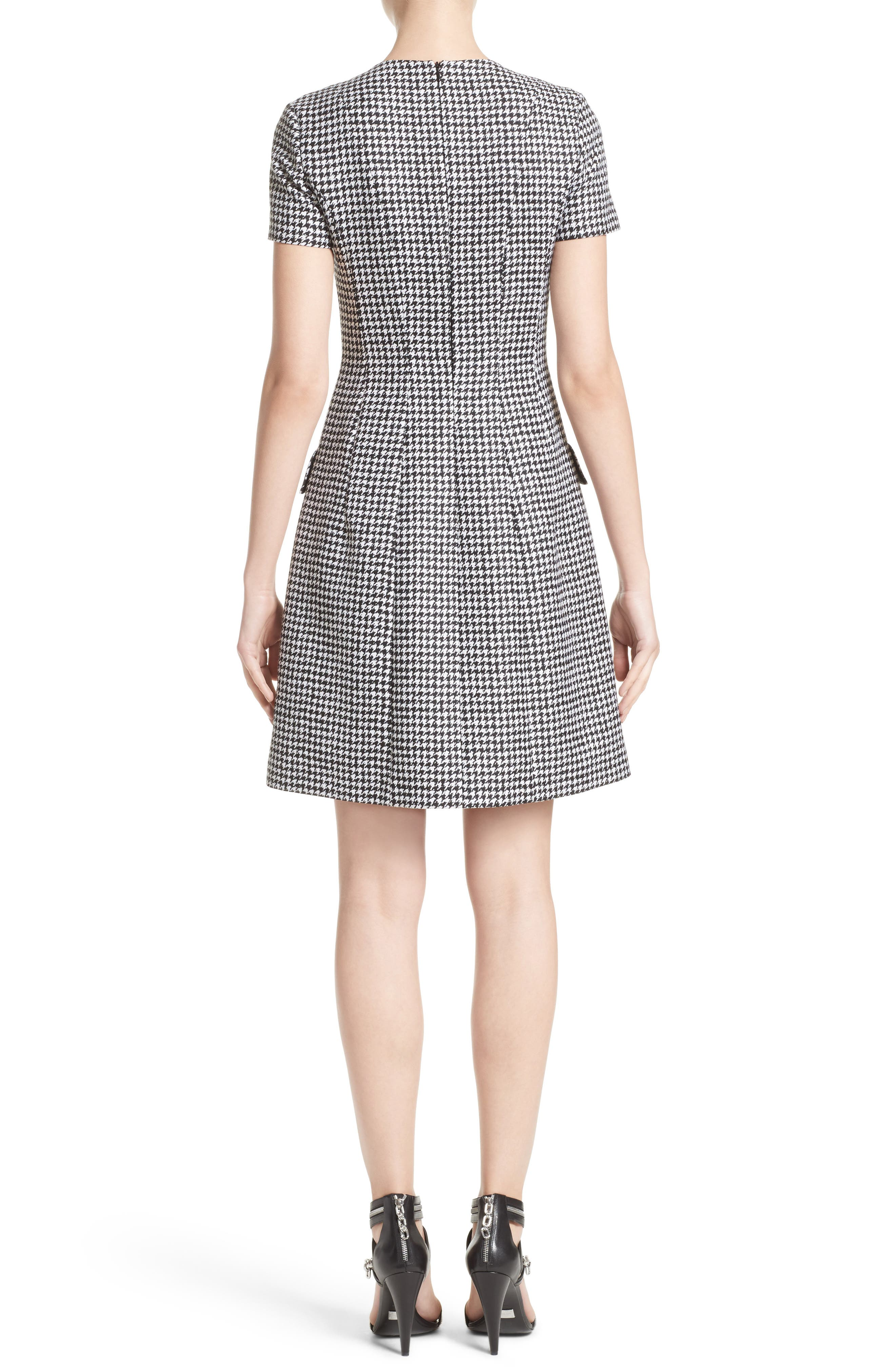Houndstooth Wool Jacquard A-Line Dress,                             Alternate thumbnail 2, color,                             003
