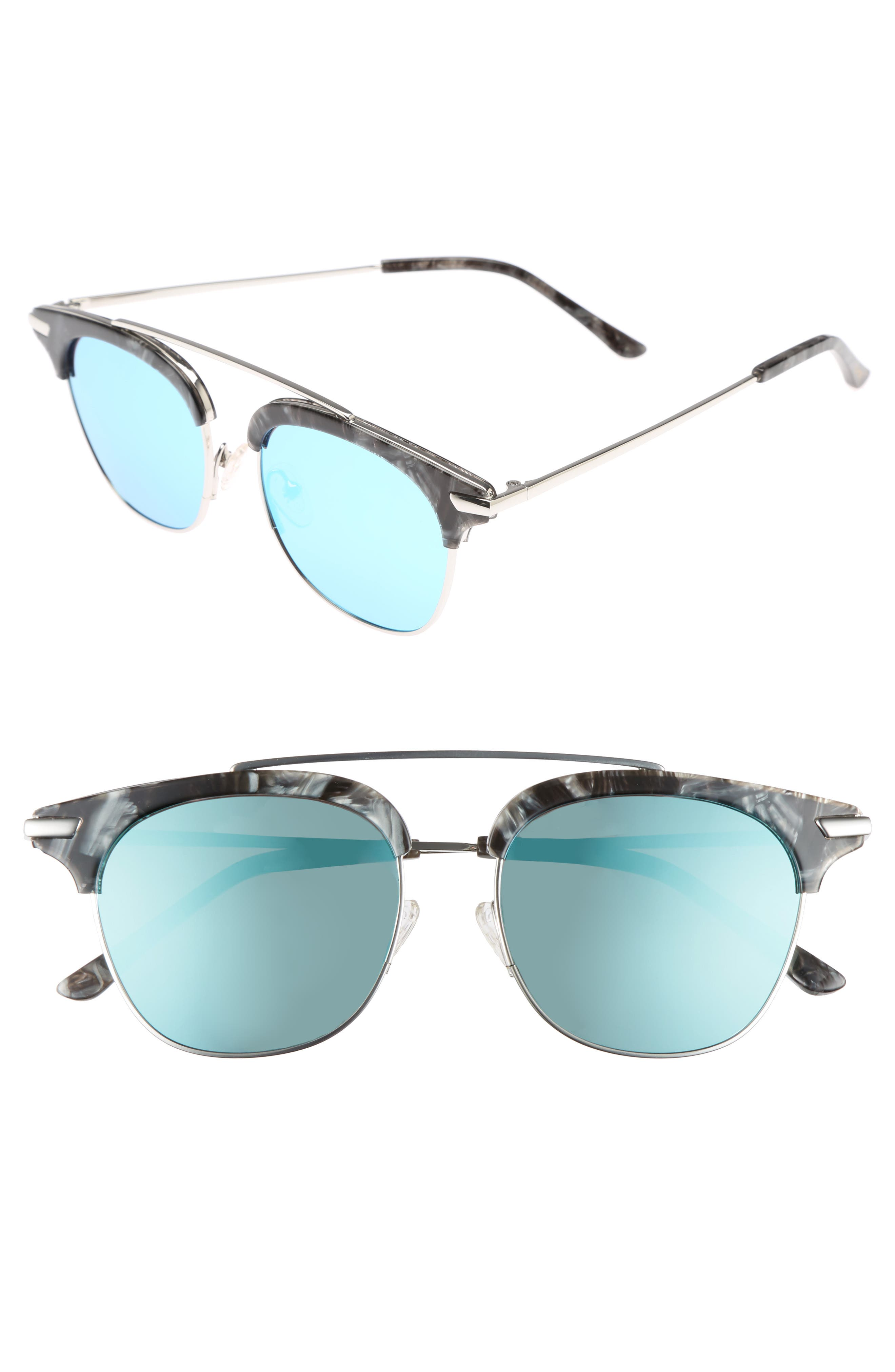 Midway 51mm Polarized Brow Bar Sunglasses,                         Main,                         color, BLUE