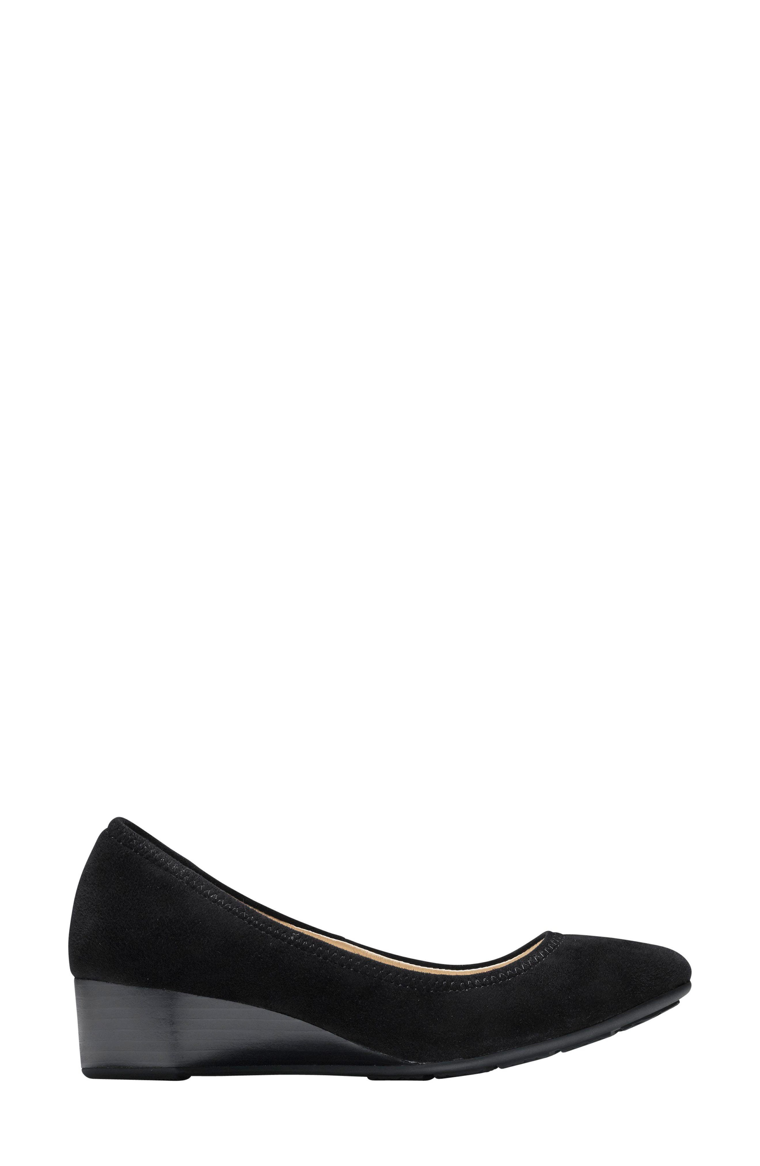 Sadie Wedge Pump,                             Alternate thumbnail 3, color,                             BLACK SUEDE