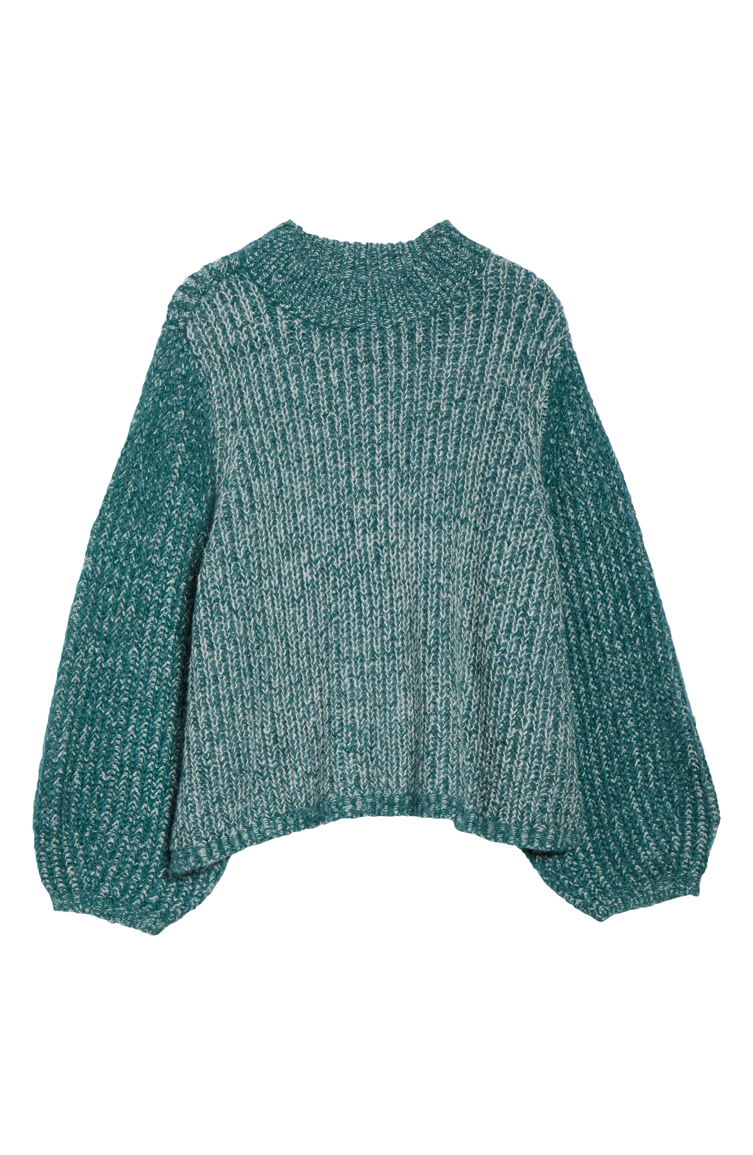 Marl Knit Sweater,                             Alternate thumbnail 6, color,                             TEAL HYDRO
