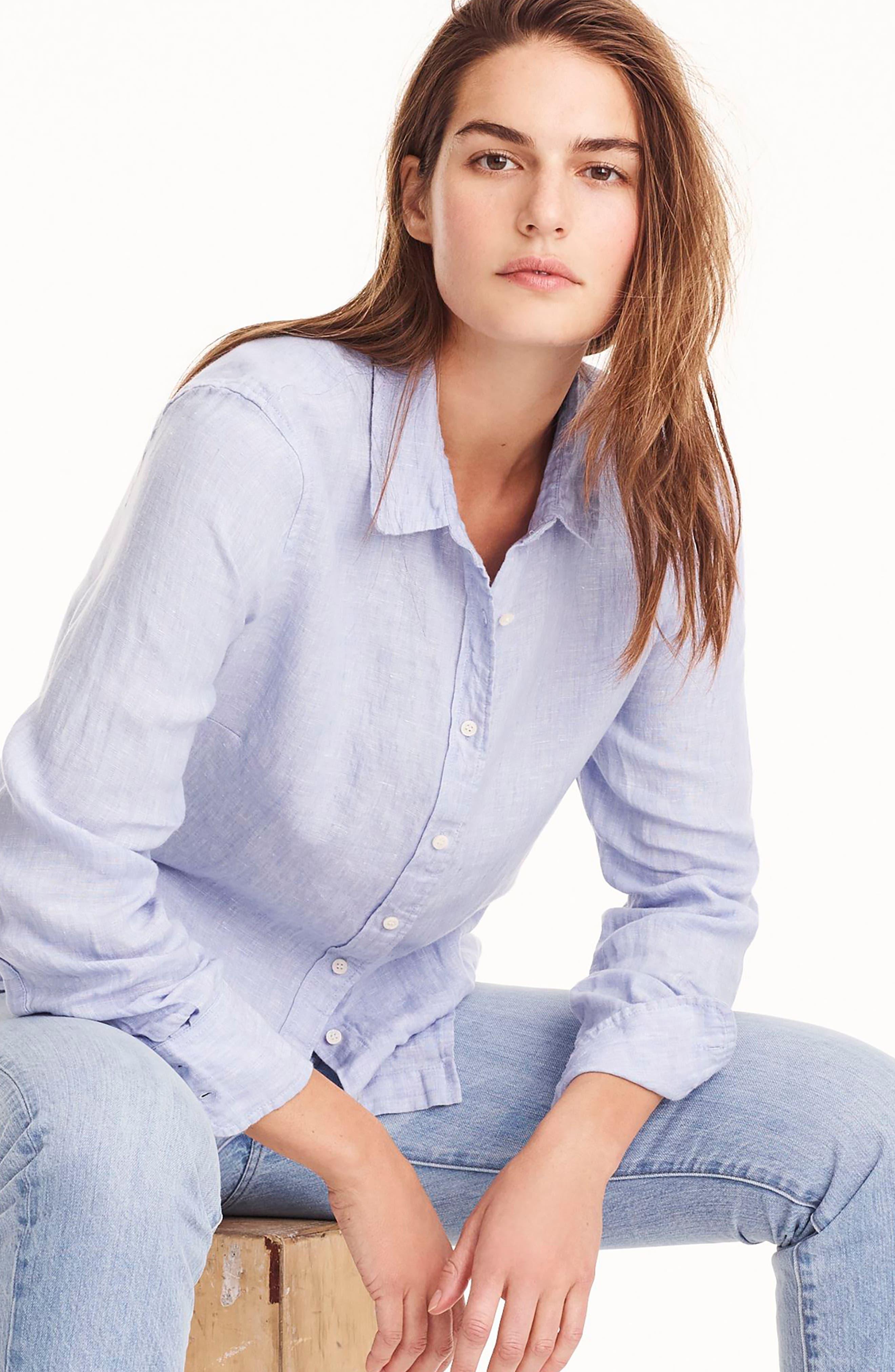 Slim Perfect Cross Dyed Irish Linen Shirt,                             Alternate thumbnail 3, color,                             402
