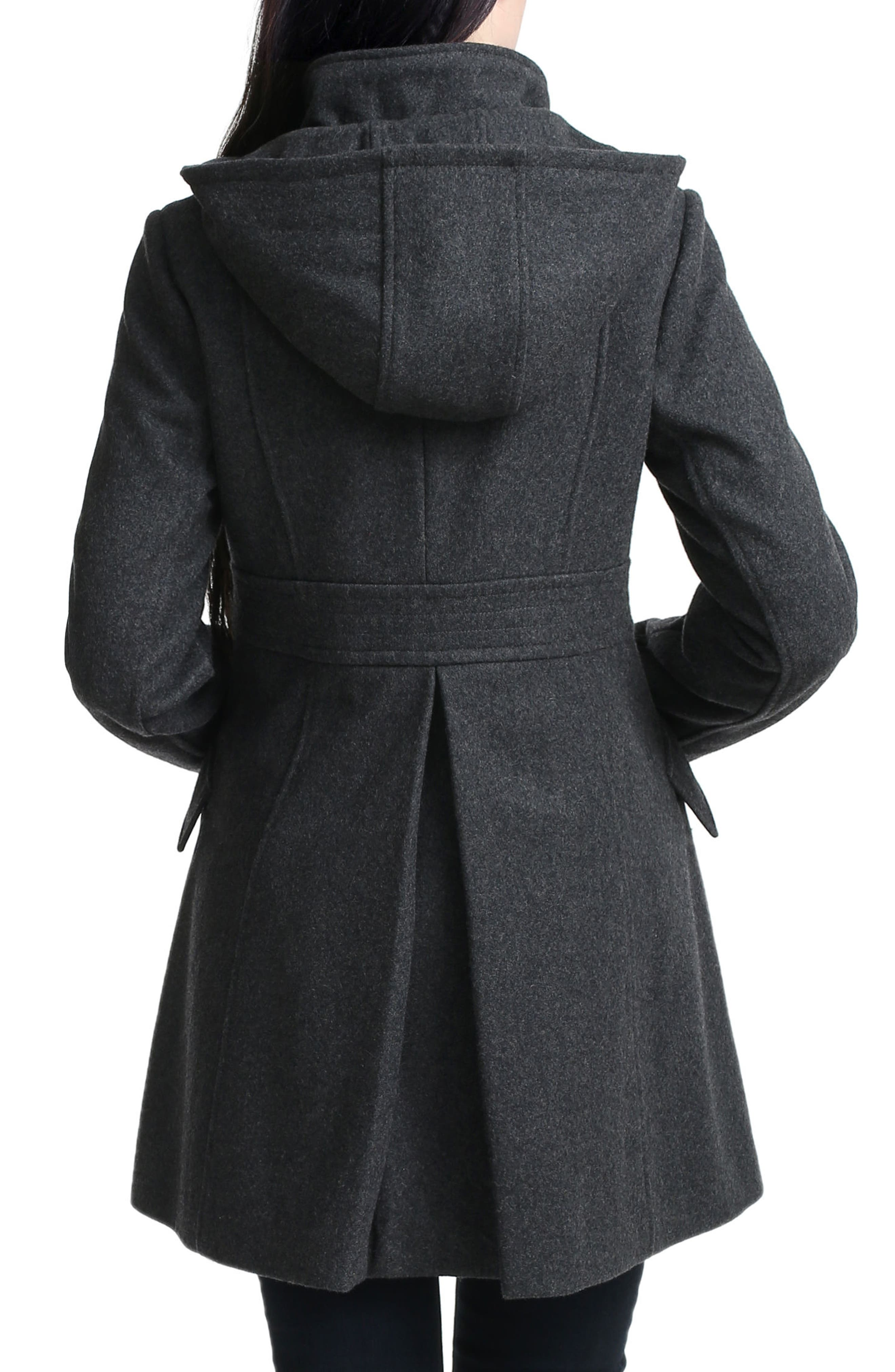 Cordella Wool Blend Hooded Maternity Coat,                             Alternate thumbnail 2, color,                             DARK HEATHER GRAY