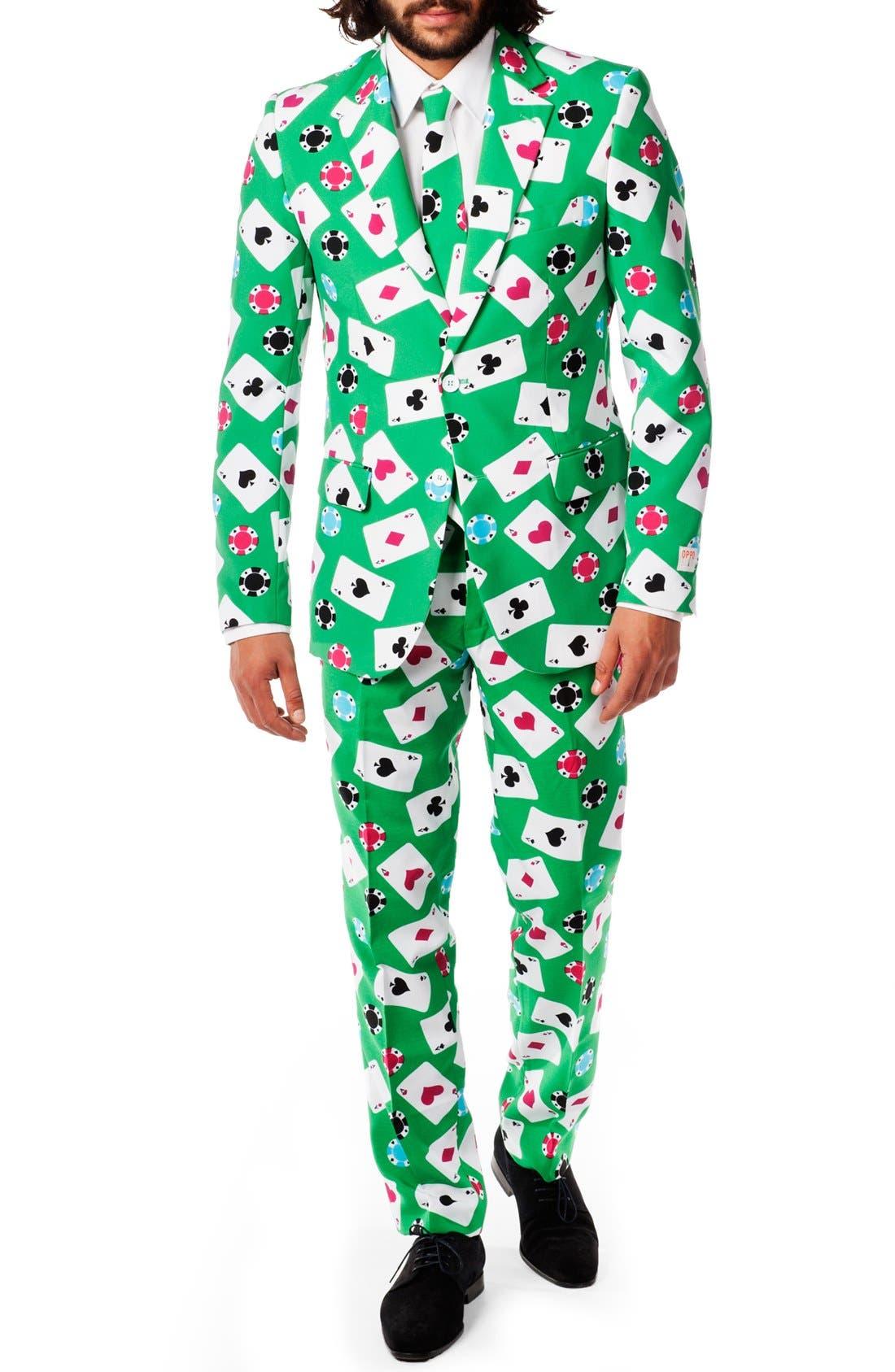 'Poker Face' Trim Fit Suit with Tie,                             Main thumbnail 1, color,                             300