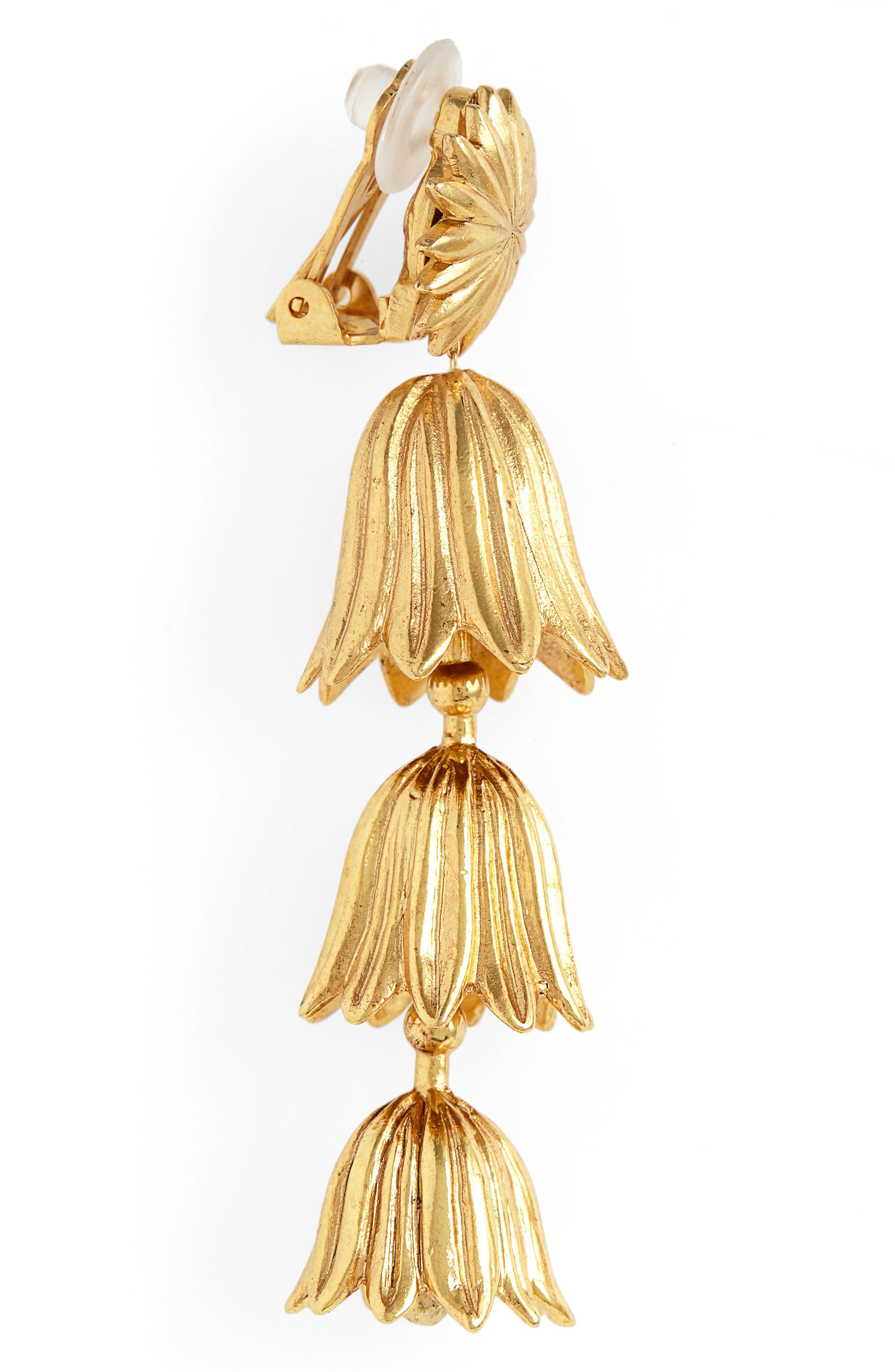 Tiered Flower Clip Earrings,                             Alternate thumbnail 4, color,                             GOLD
