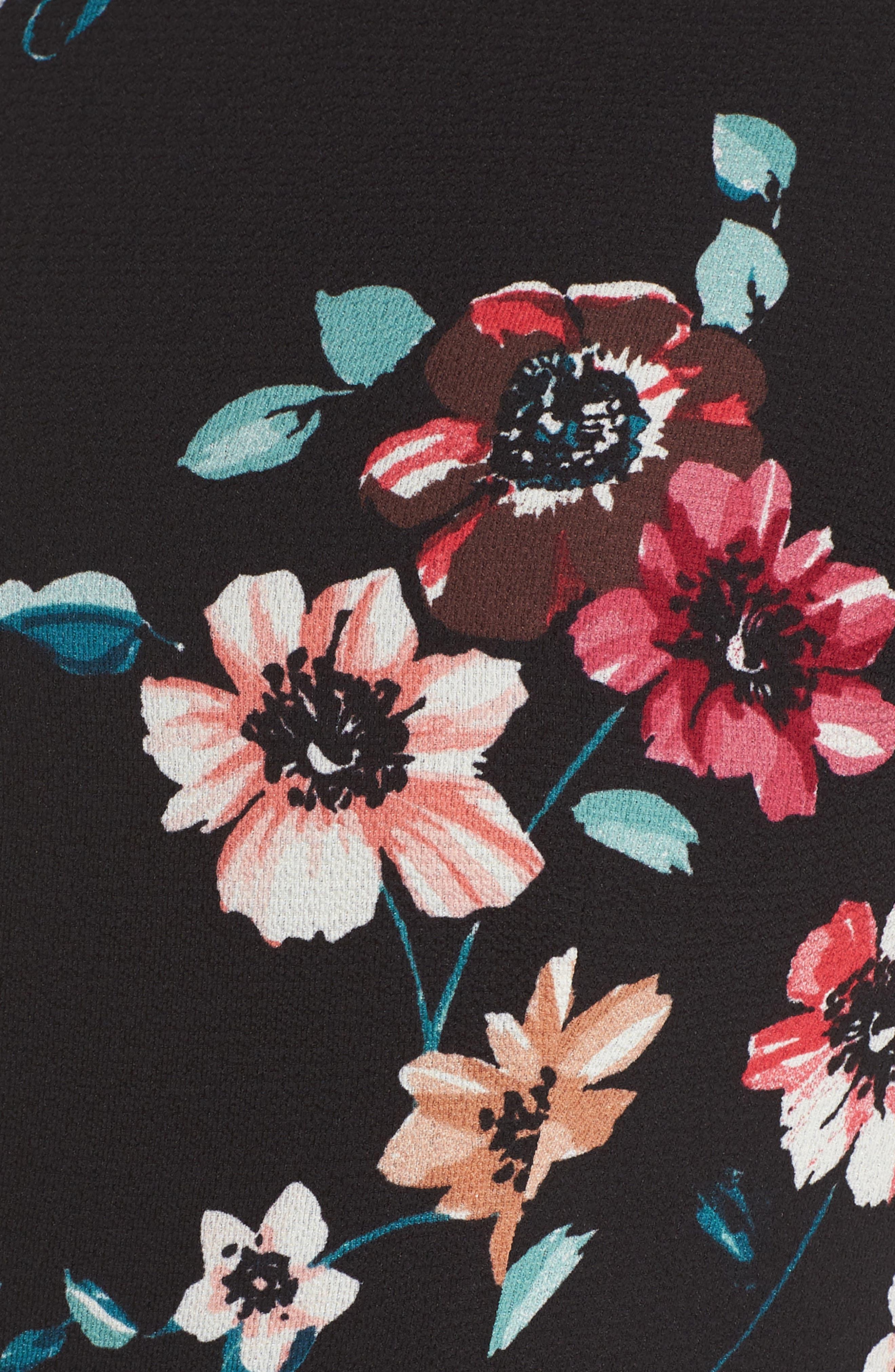 Floral Ruffle Midi Dress,                             Alternate thumbnail 6, color,                             001