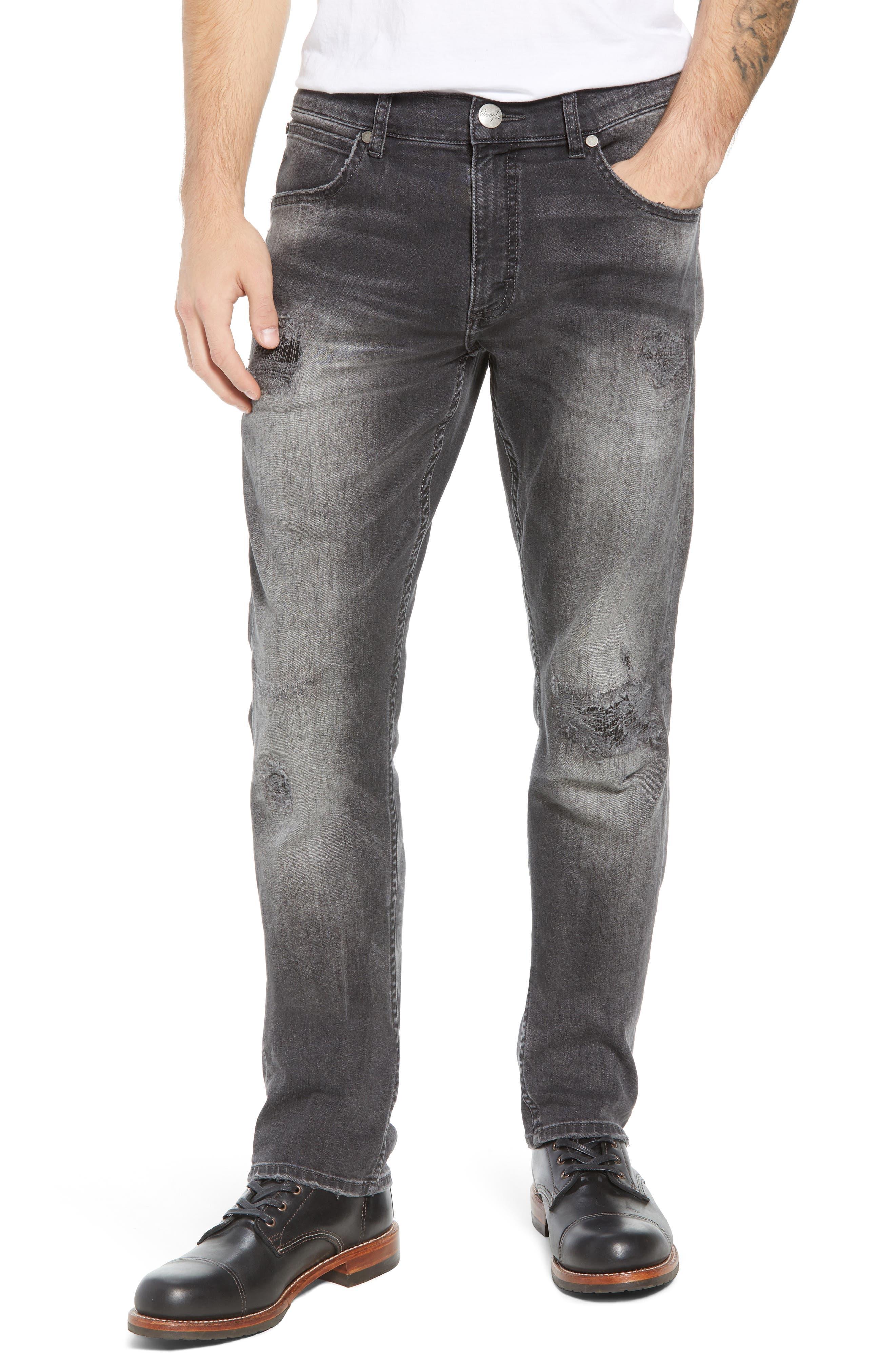 Greensboro Straight Leg Jeans,                             Main thumbnail 1, color,                             GREY DESTRUCT