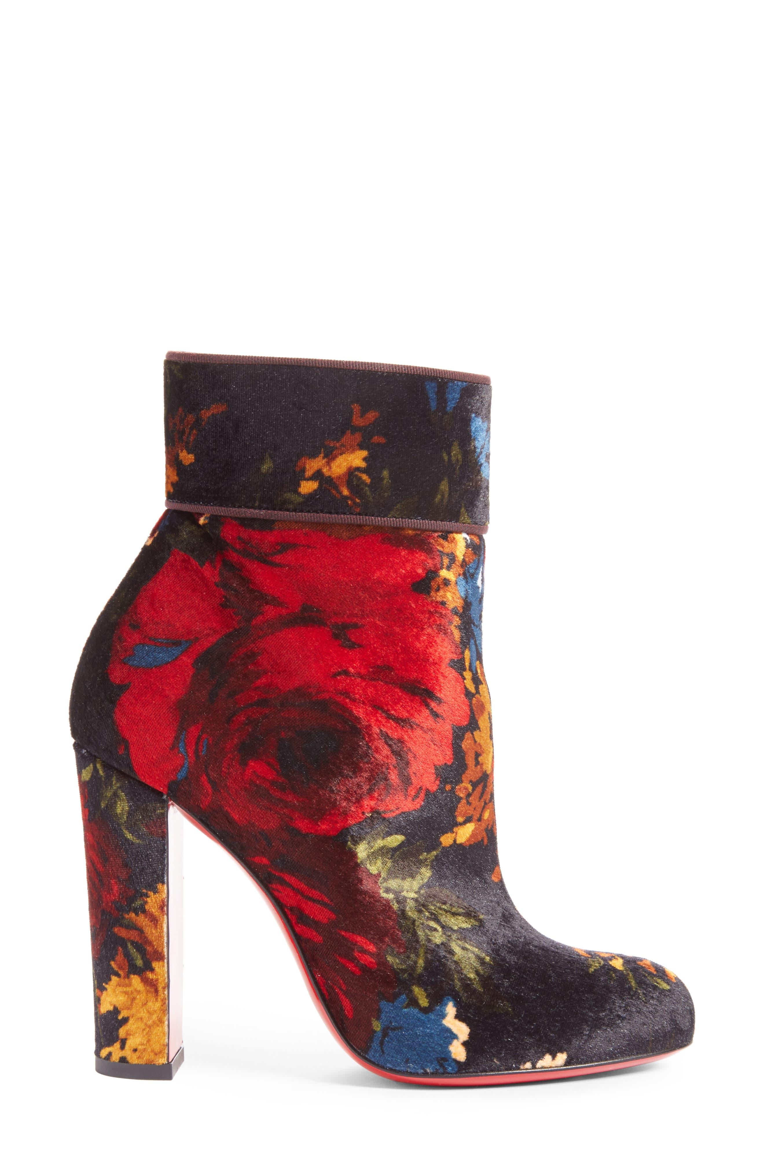 CHRISTIAN LOUBOUTIN,                             Moulamax Floral Velvet Bootie,                             Alternate thumbnail 3, color,                             013