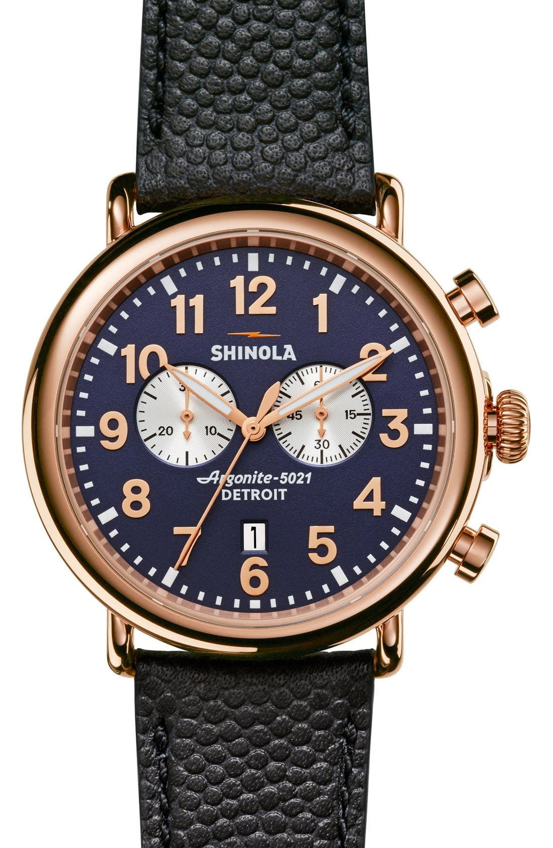 The Runwell Chrono Leather Strap Watch, 47mm,                             Main thumbnail 15, color,