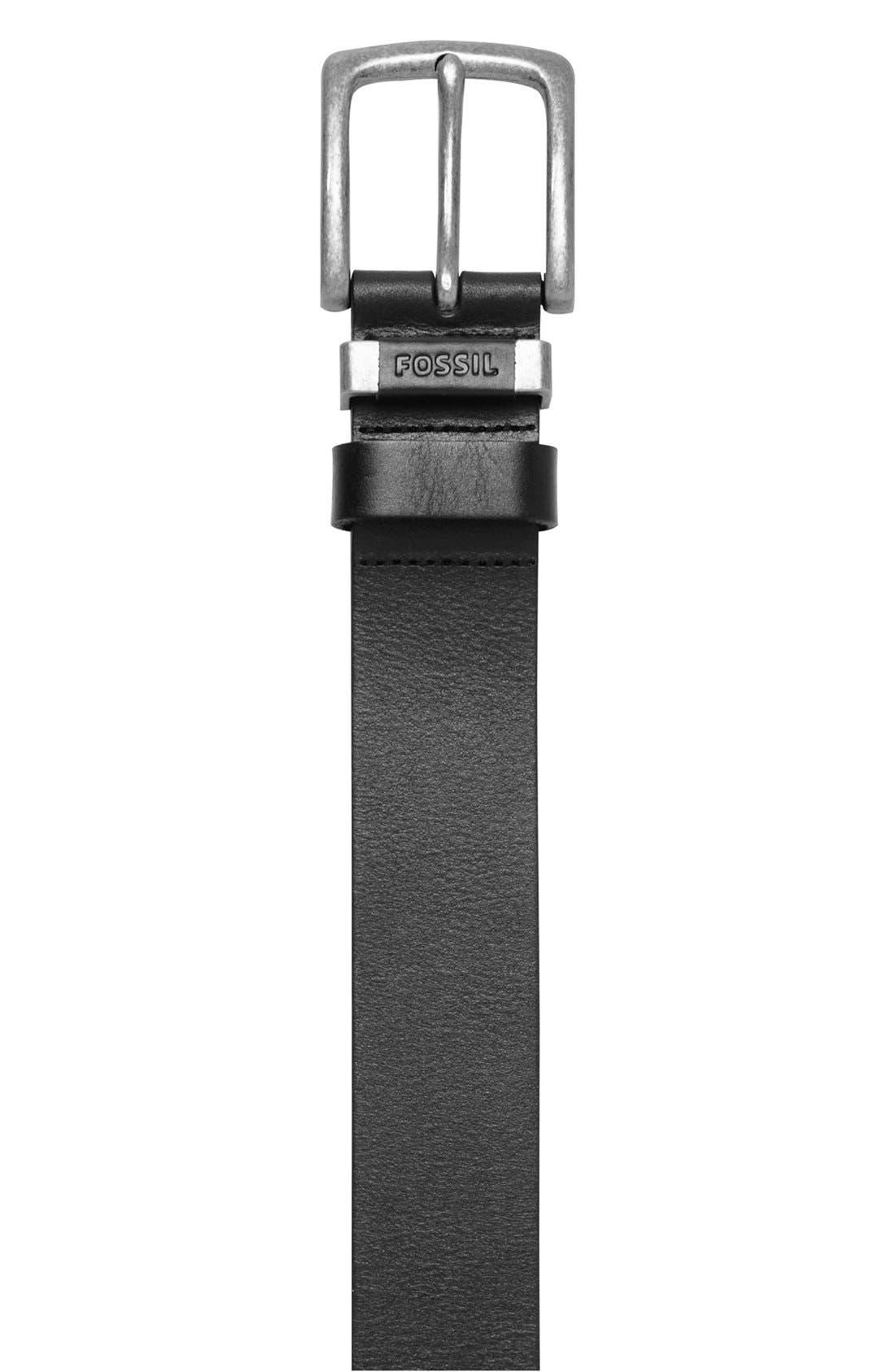'Jay' Leather Belt,                             Alternate thumbnail 2, color,                             BLACK