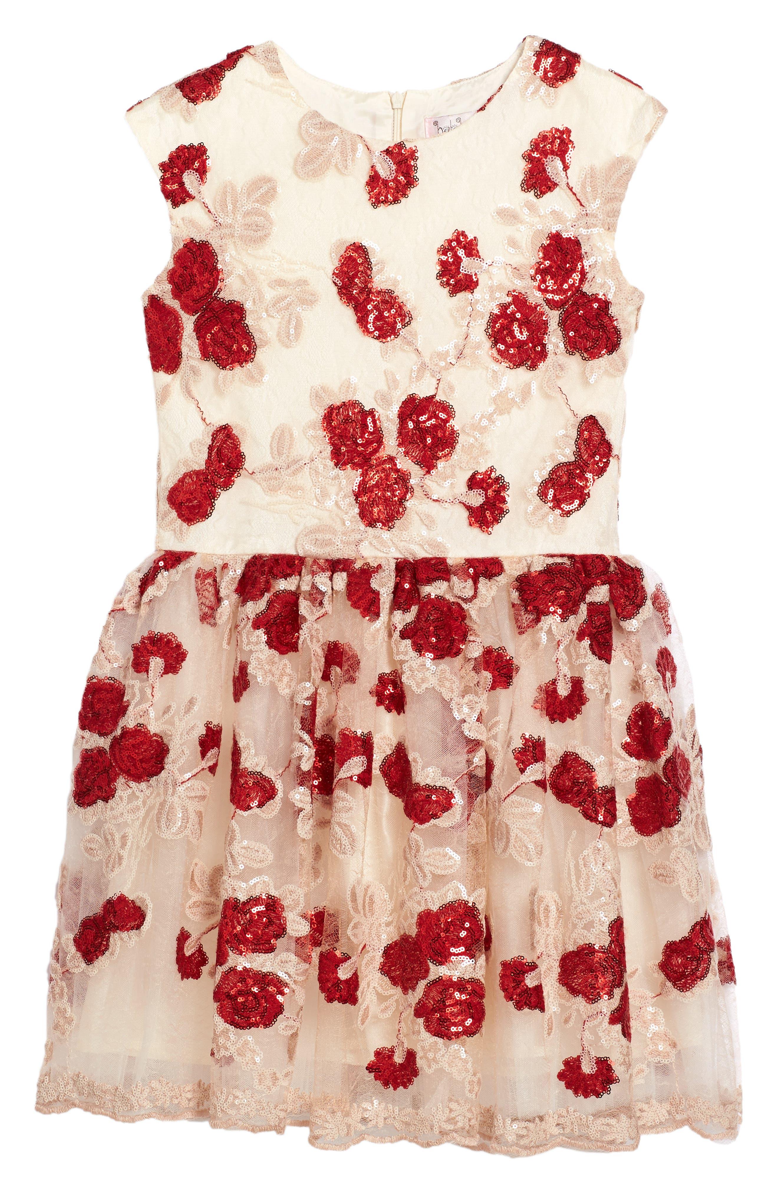 Floral Sequin Mesh Dress,                             Main thumbnail 1, color,                             600