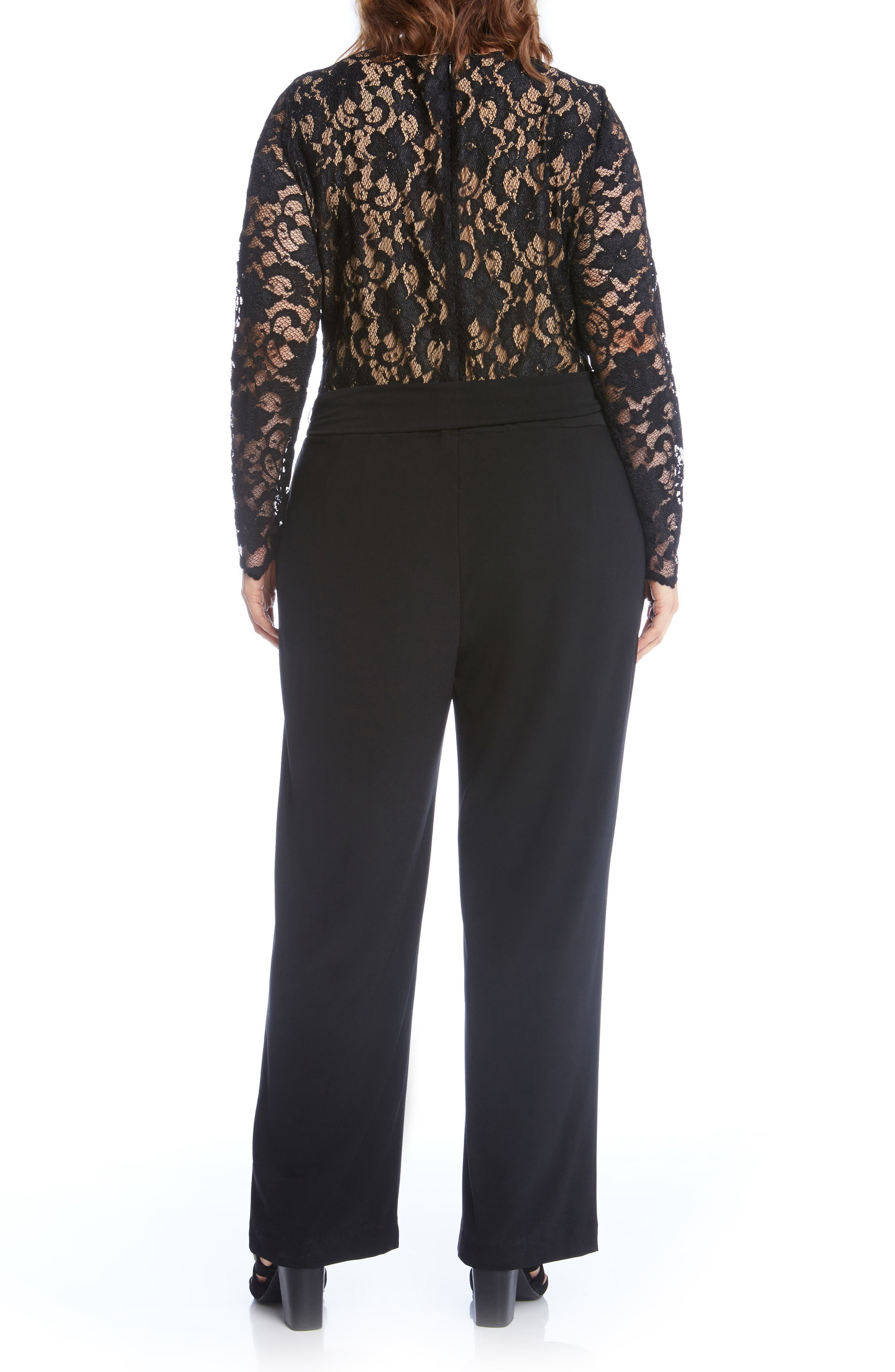Lace & Jersey Palazzo Jumpsuit,                             Alternate thumbnail 2, color,                             001