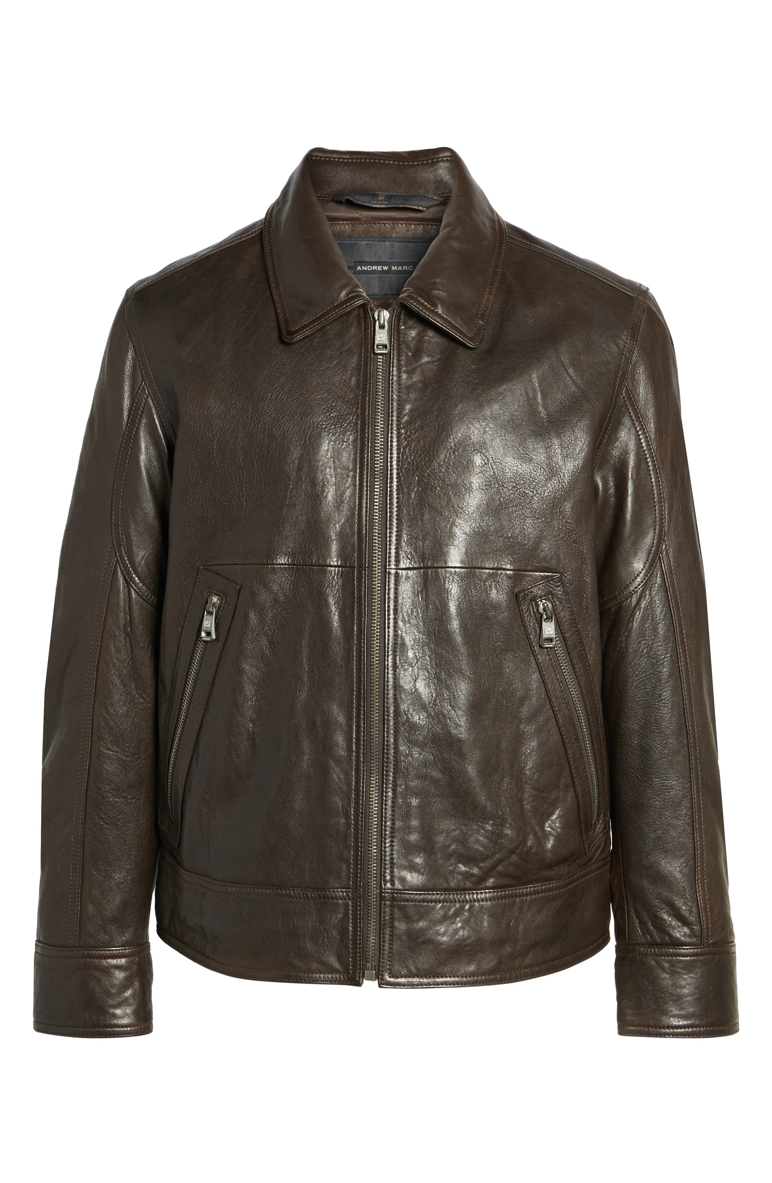 Morrison Spread Collar Leather Jacket,                             Alternate thumbnail 5, color,                             200