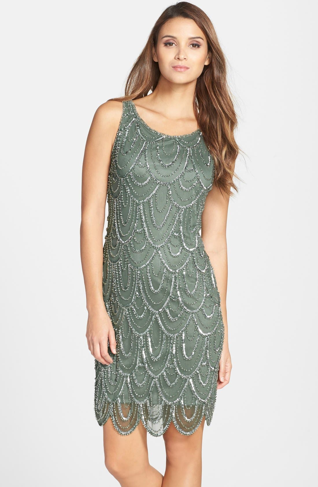 Embellished Mesh Sheath Dress,                             Main thumbnail 15, color,