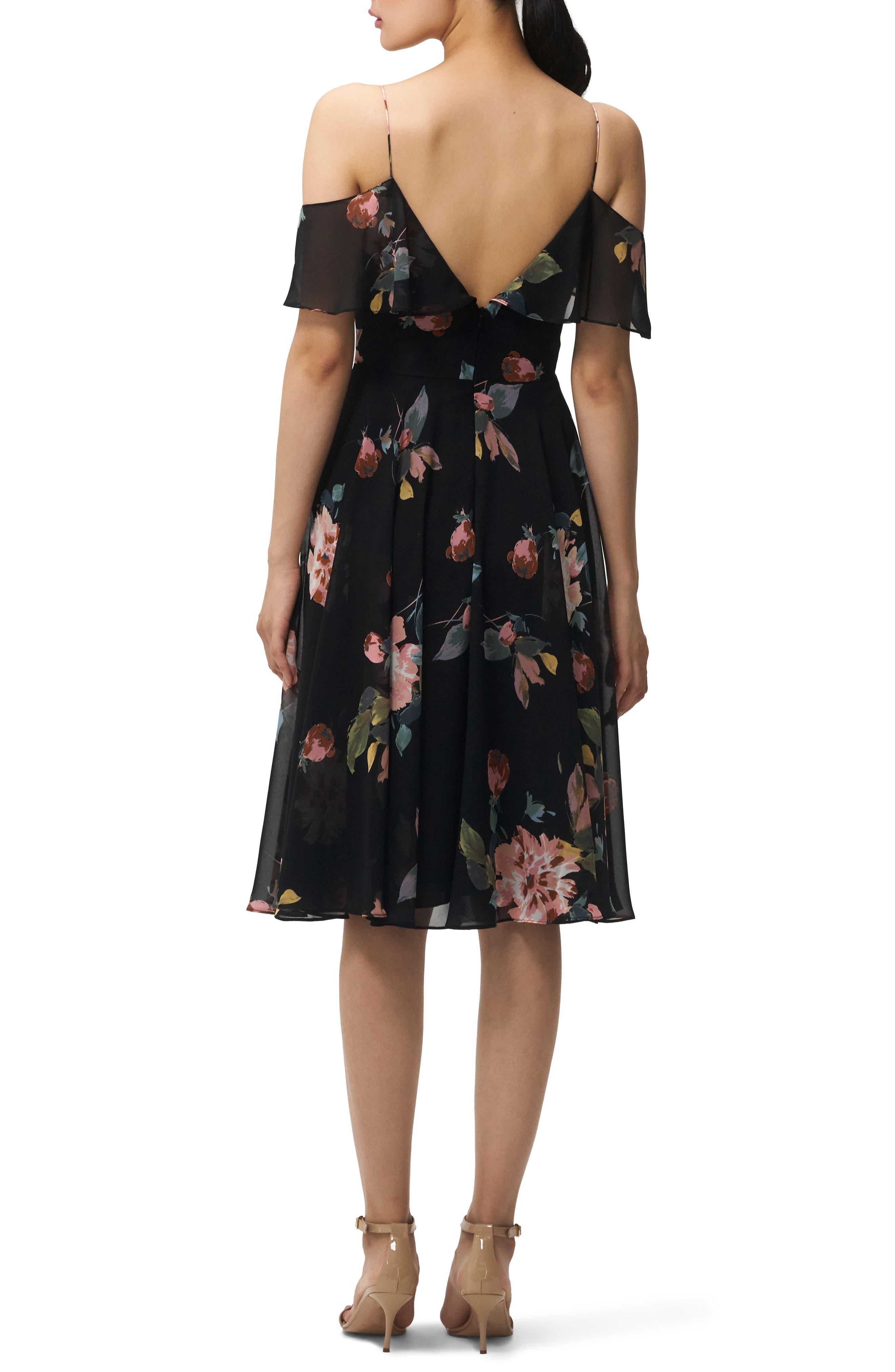 Kelli Ohana Print Chiffon Cold Shoulder Dress,                             Alternate thumbnail 2, color,                             BLACK MULTI