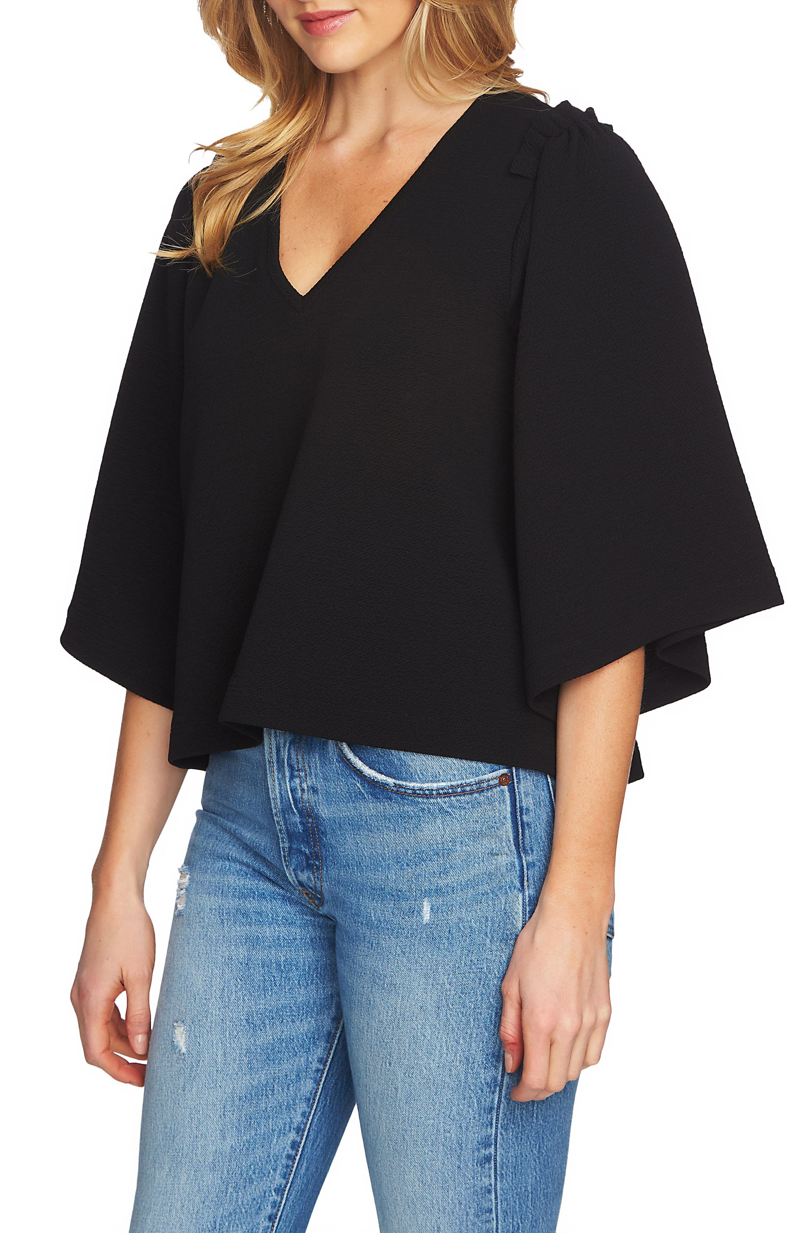 V-Neck Bell Sleeve Top,                             Main thumbnail 1, color,                             001