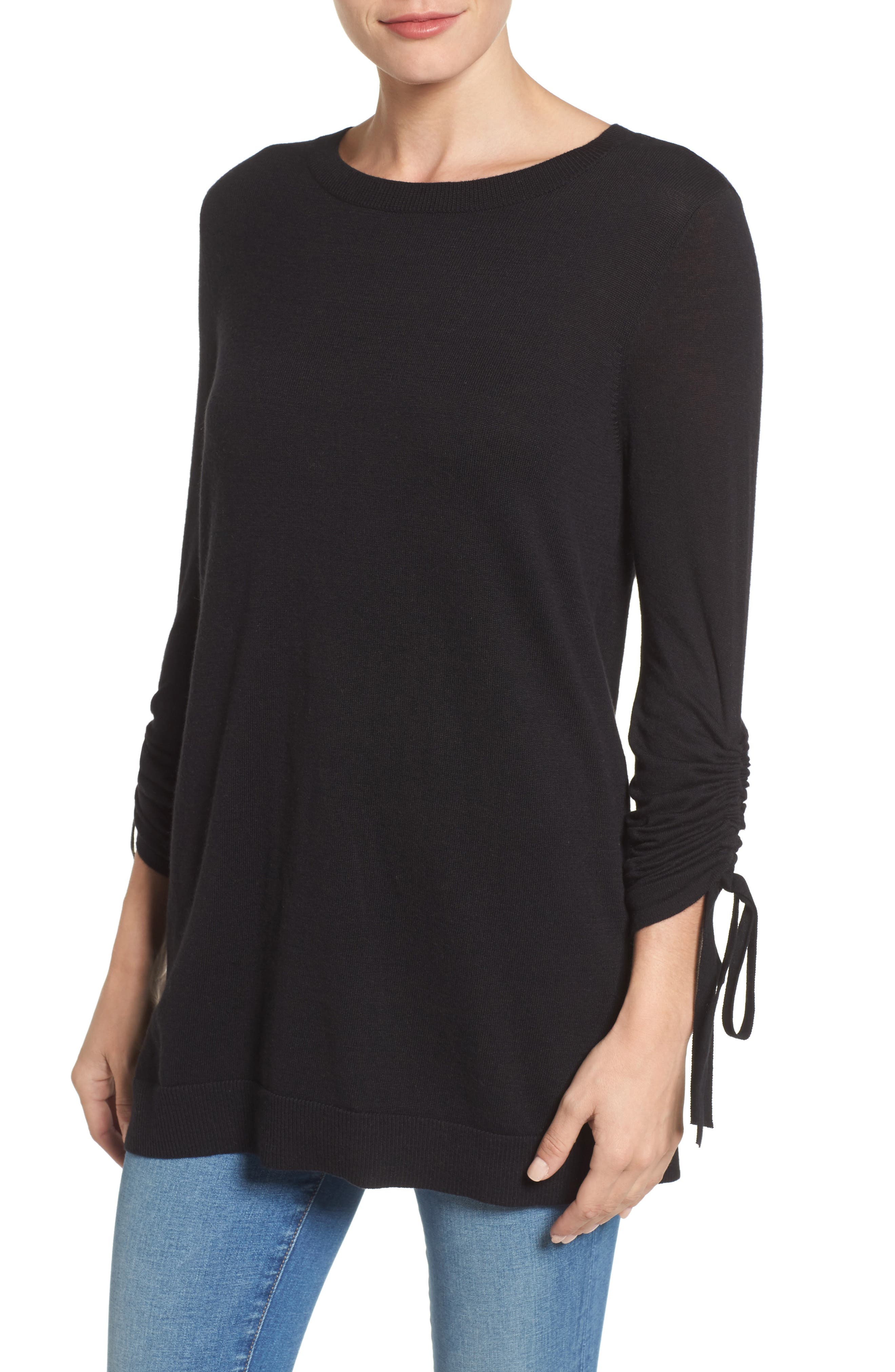 Ruched Sleeve Tunic Sweater,                             Main thumbnail 1, color,