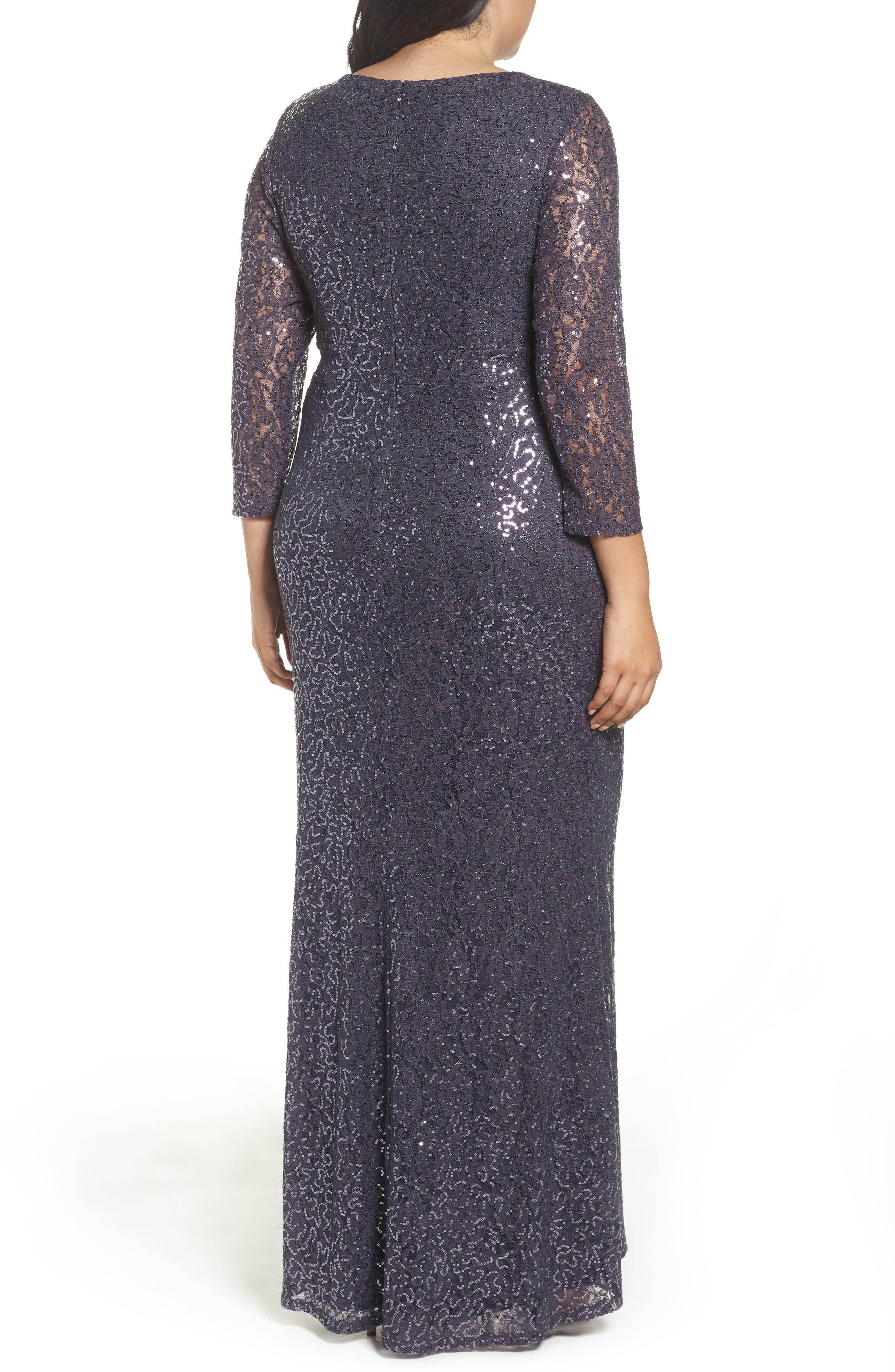 Sequin Lace A-Line Gown,                             Alternate thumbnail 2, color,                             GUNMETAL