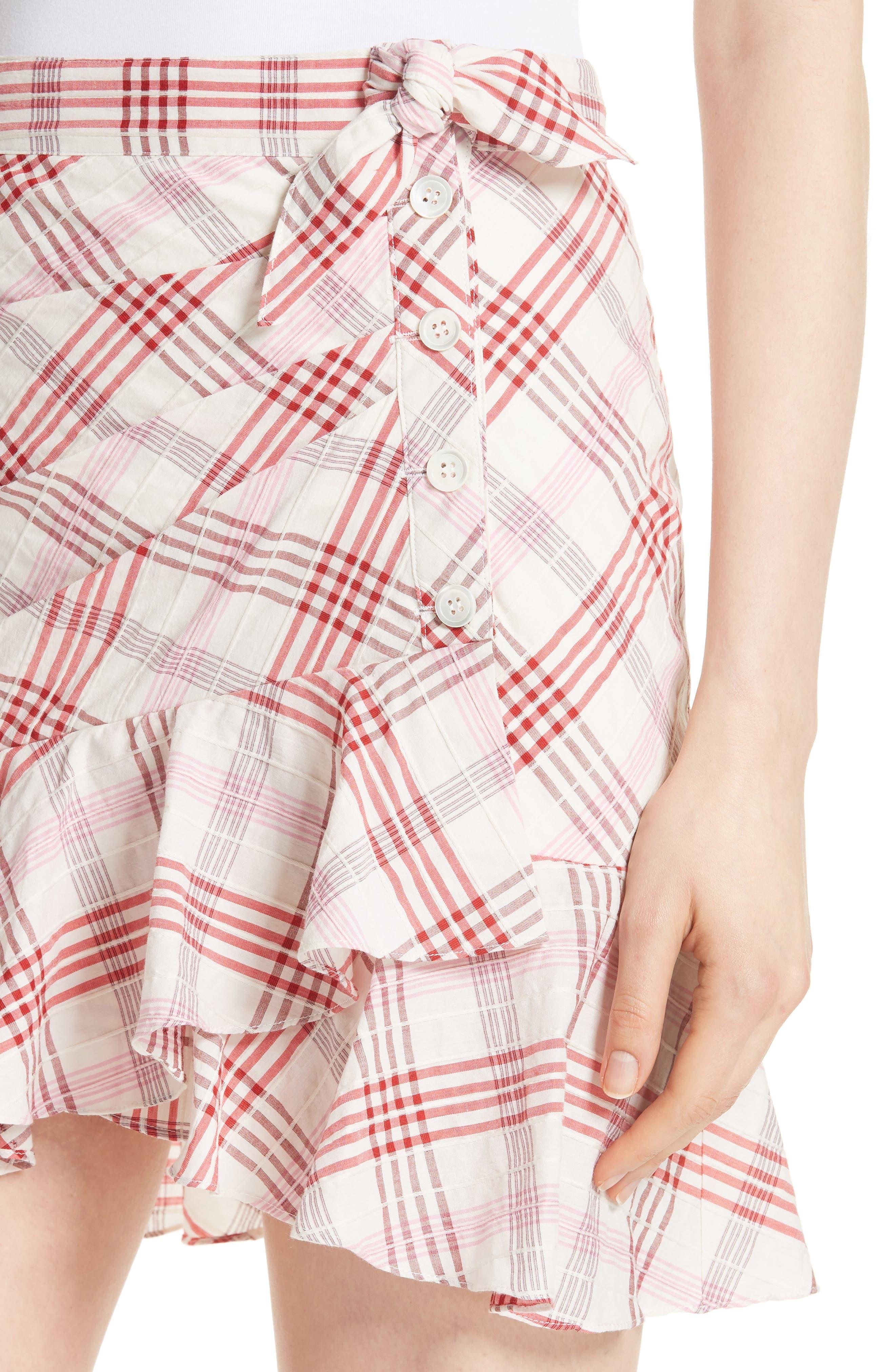 Kaia Check Ruffle Skirt,                             Alternate thumbnail 8, color,