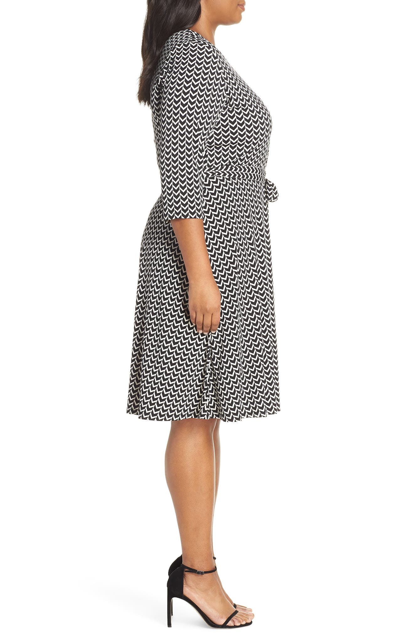 Wrap Dress,                             Alternate thumbnail 3, color,                             HERRINGBONE-BLACK