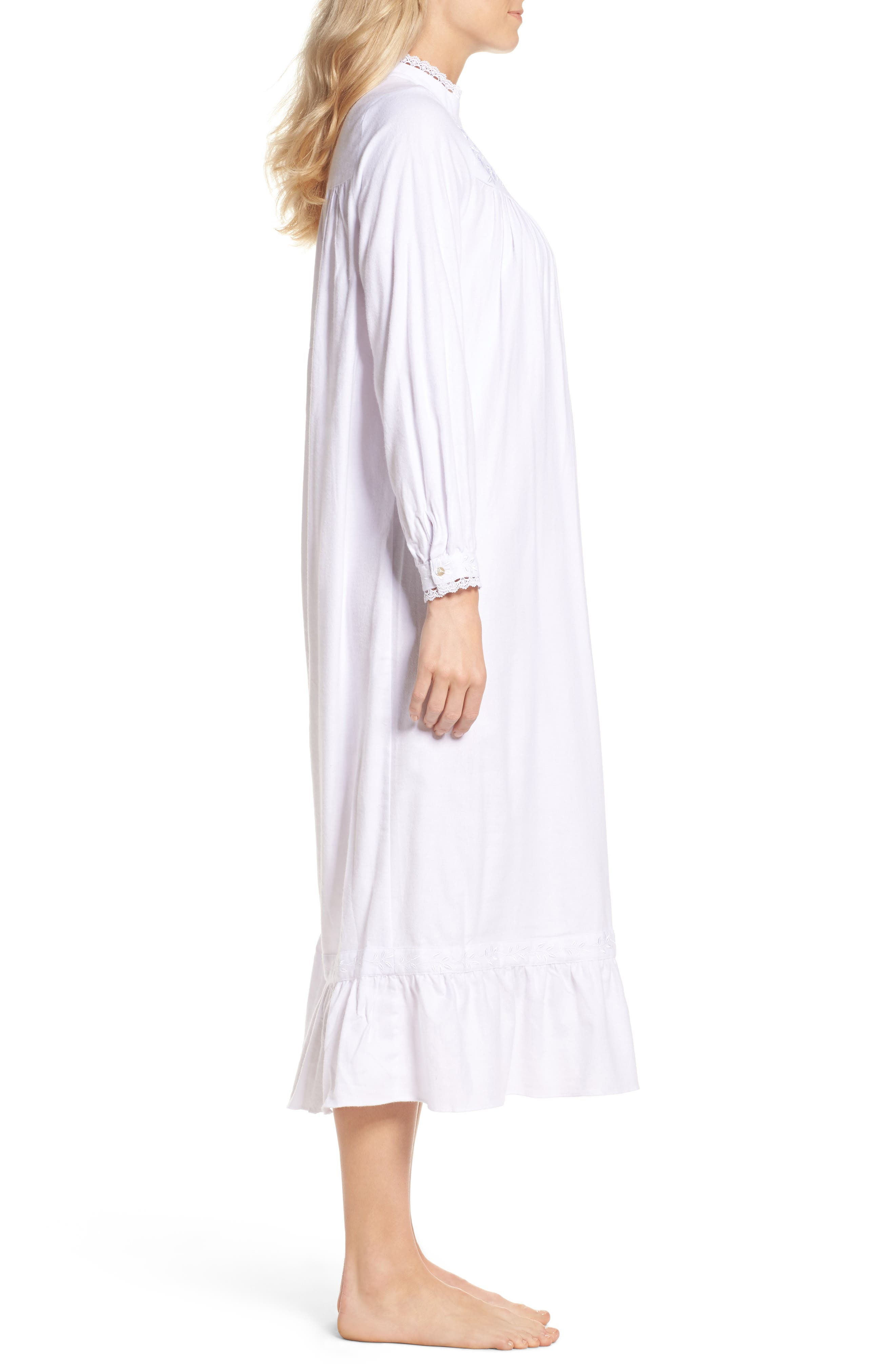 High Neck Cotton Nightgown,                             Alternate thumbnail 3, color,
