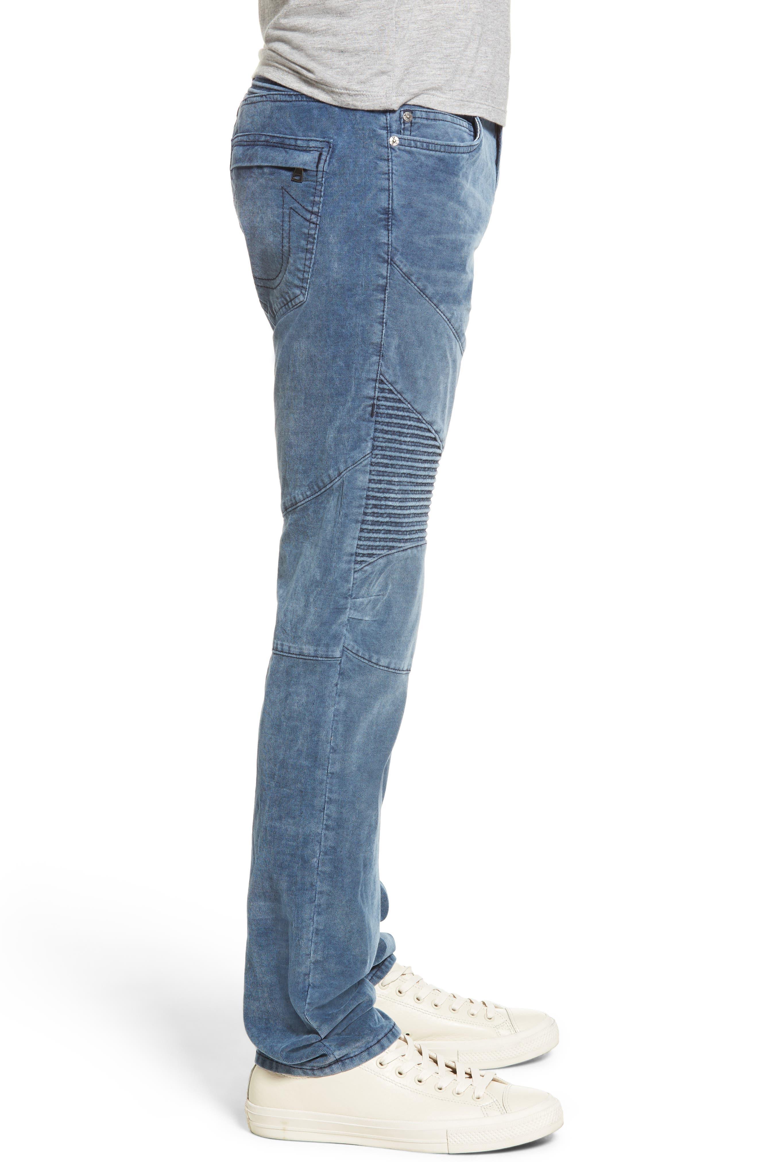 Geno Straight Leg Corduroy Moto Pants,                             Alternate thumbnail 3, color,                             401