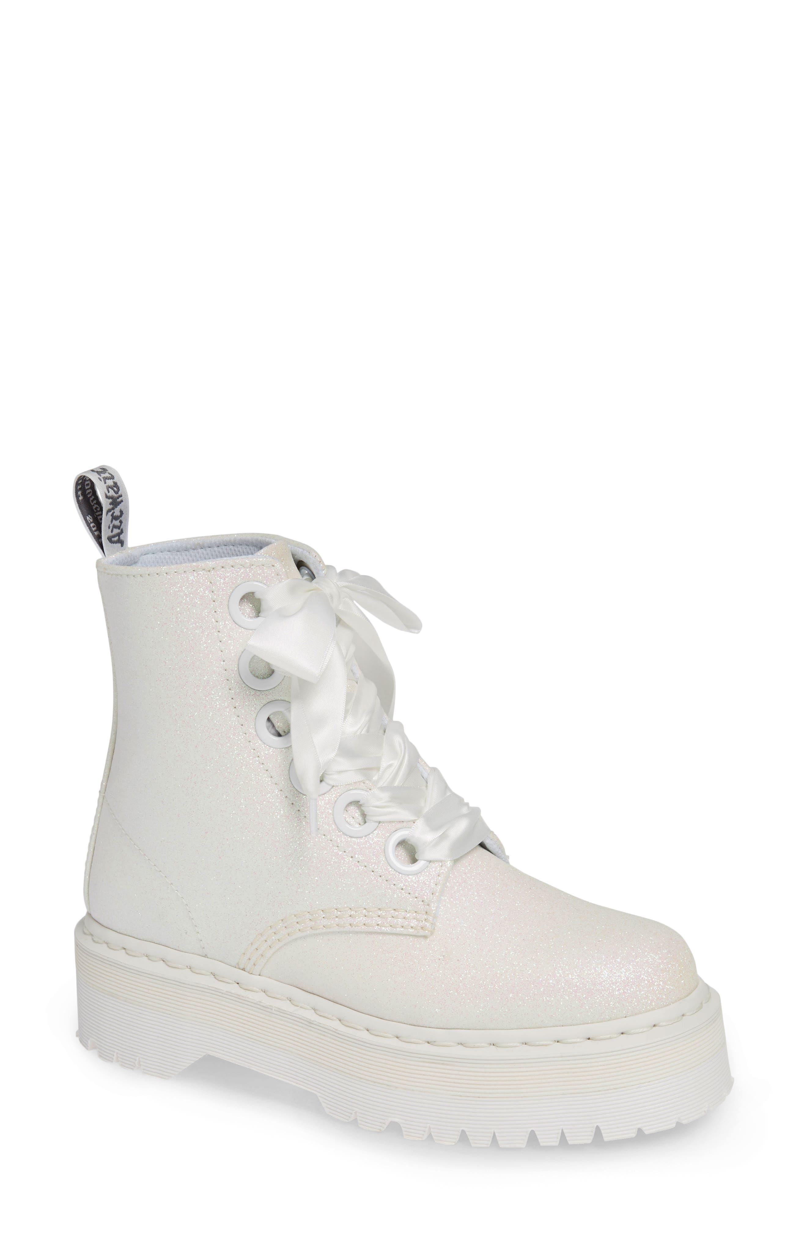 Molly Glitter Boot, Main, color, WHITE GLITTER