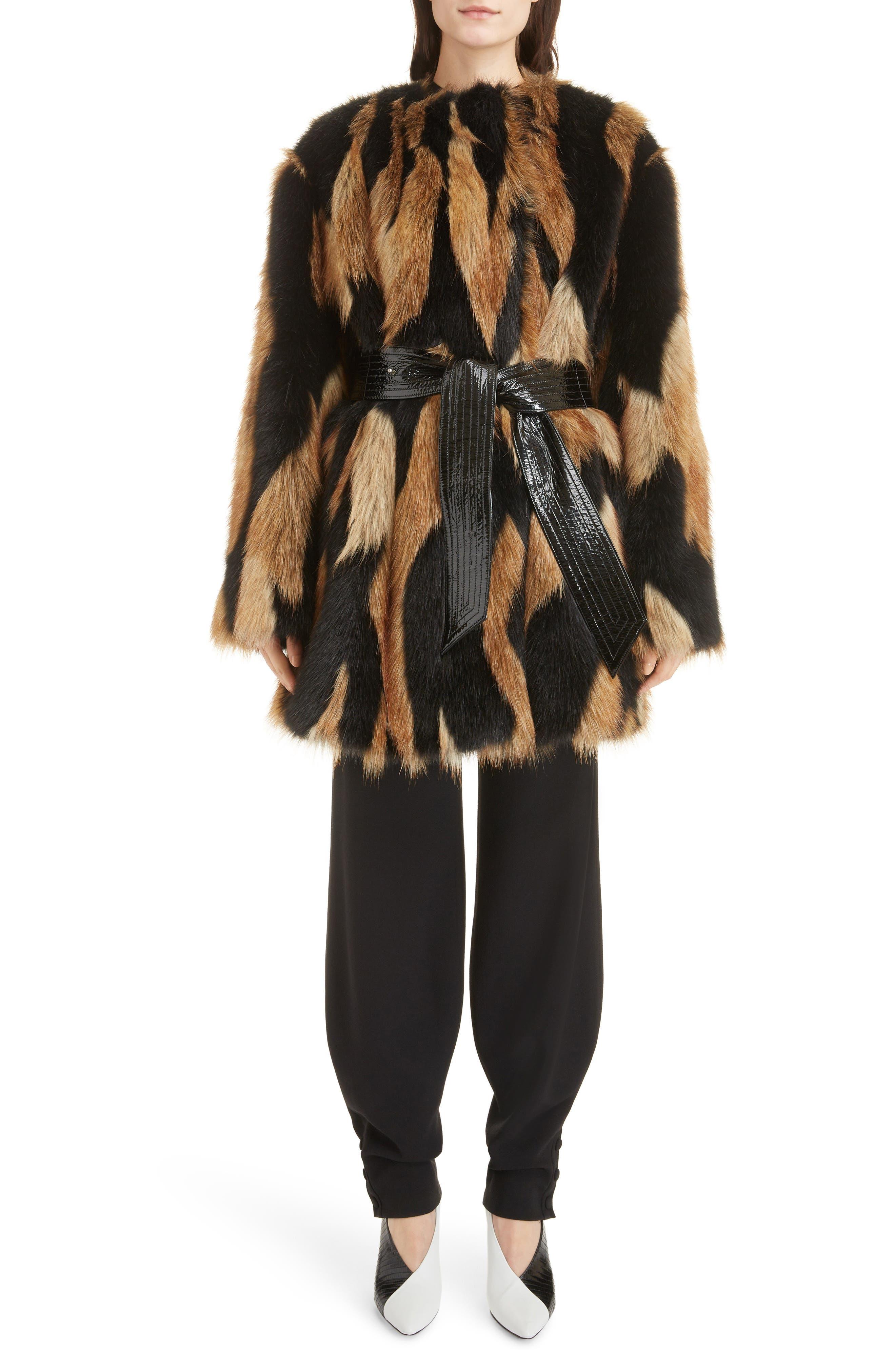 Bicolor Faux Fur Coat,                             Alternate thumbnail 6, color,                             002
