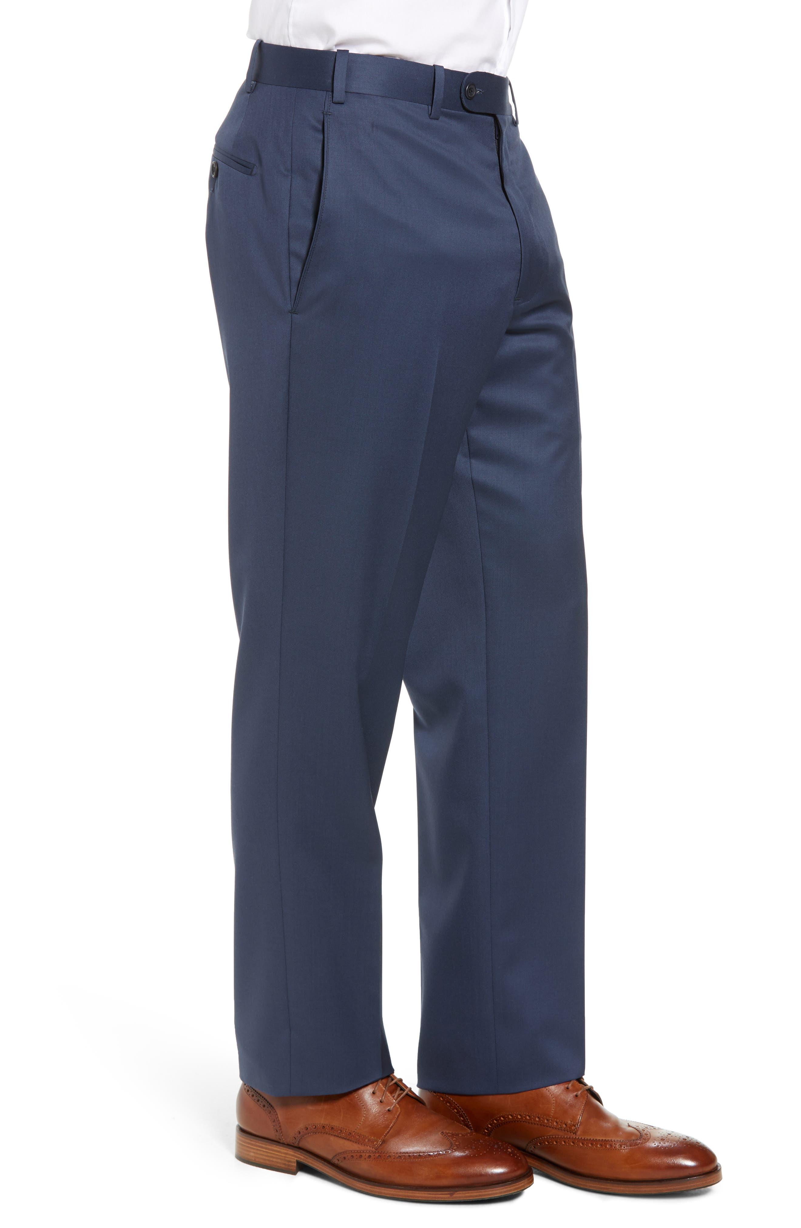 Torino Flat Front Wool Gabardine Trousers,                             Alternate thumbnail 18, color,