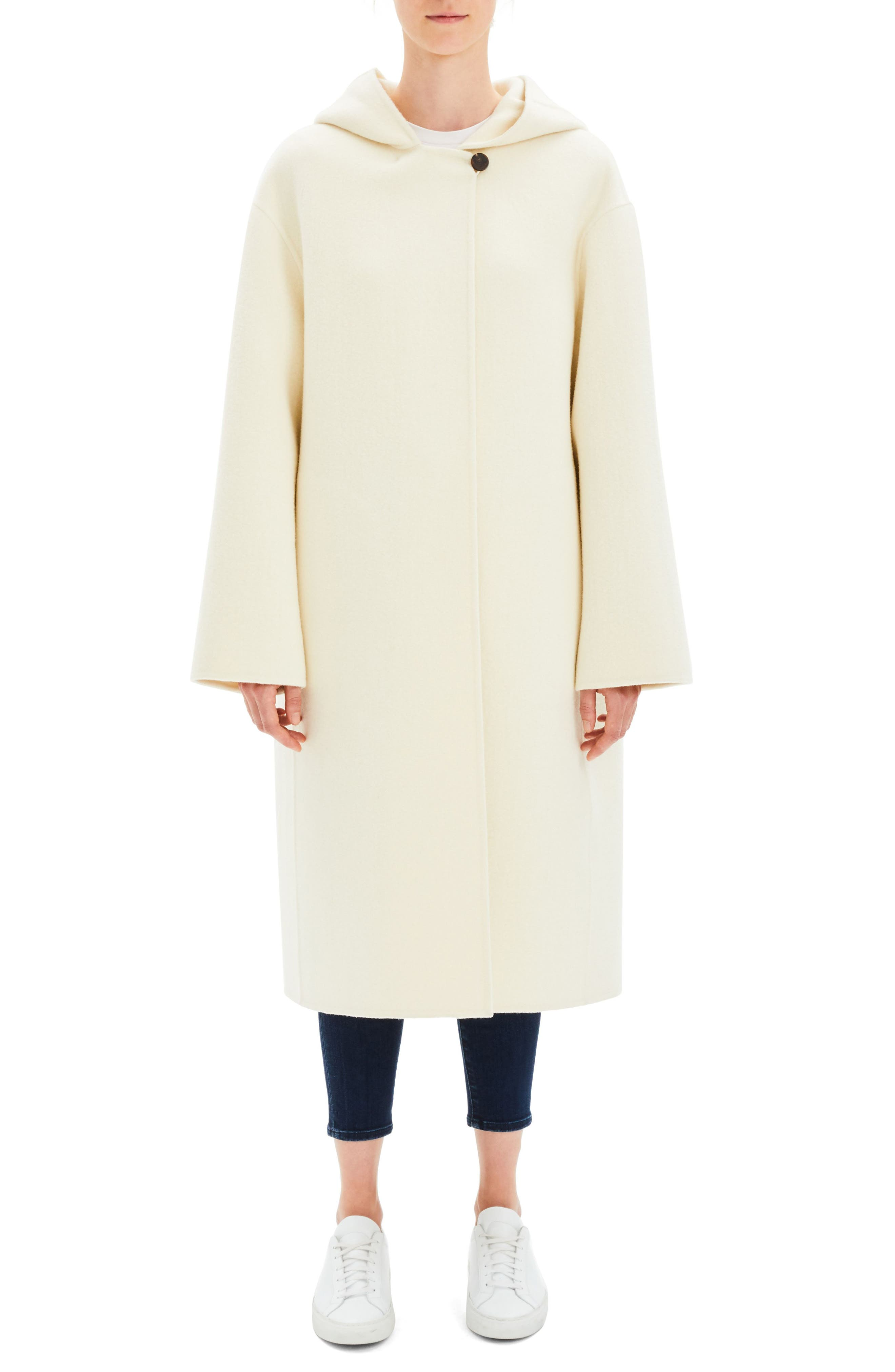Clean Duffel Wool Blend Coat, Main, color, EASTER LILY