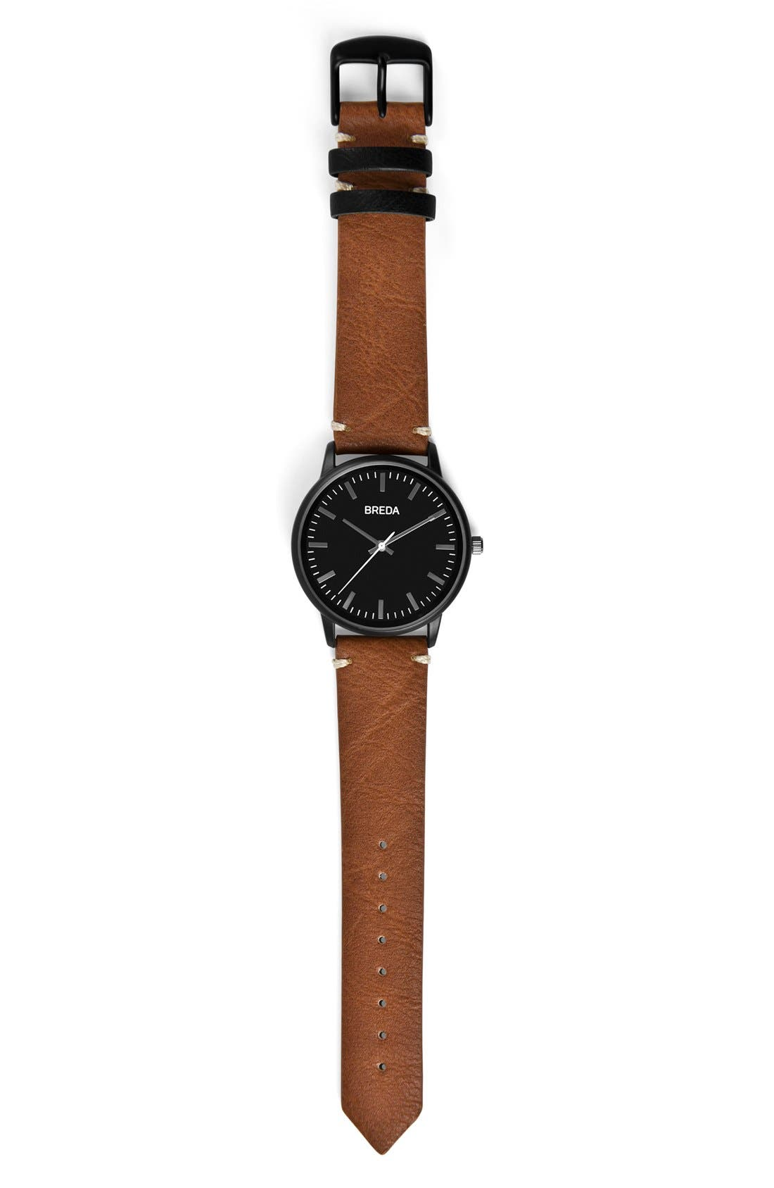 Zapf Round Leather Strap Watch, 39mm,                             Alternate thumbnail 3, color,                             200