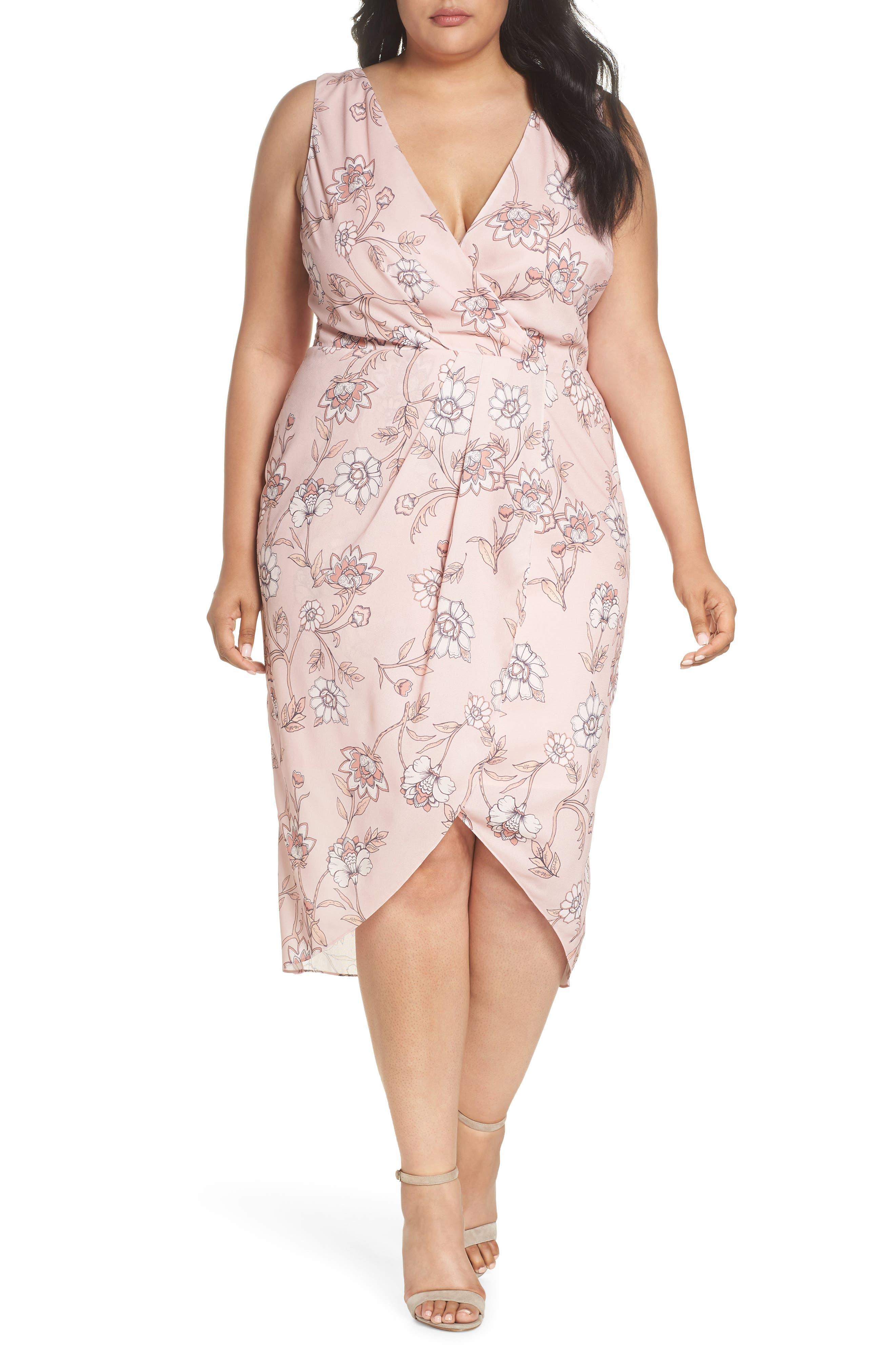 Fiorella Floral Drape Sheath Dress,                         Main,                         color, 650