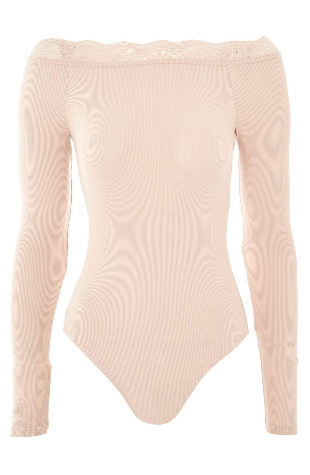 Lace Trim Off the Shoulder Bodysuit,                             Alternate thumbnail 11, color,